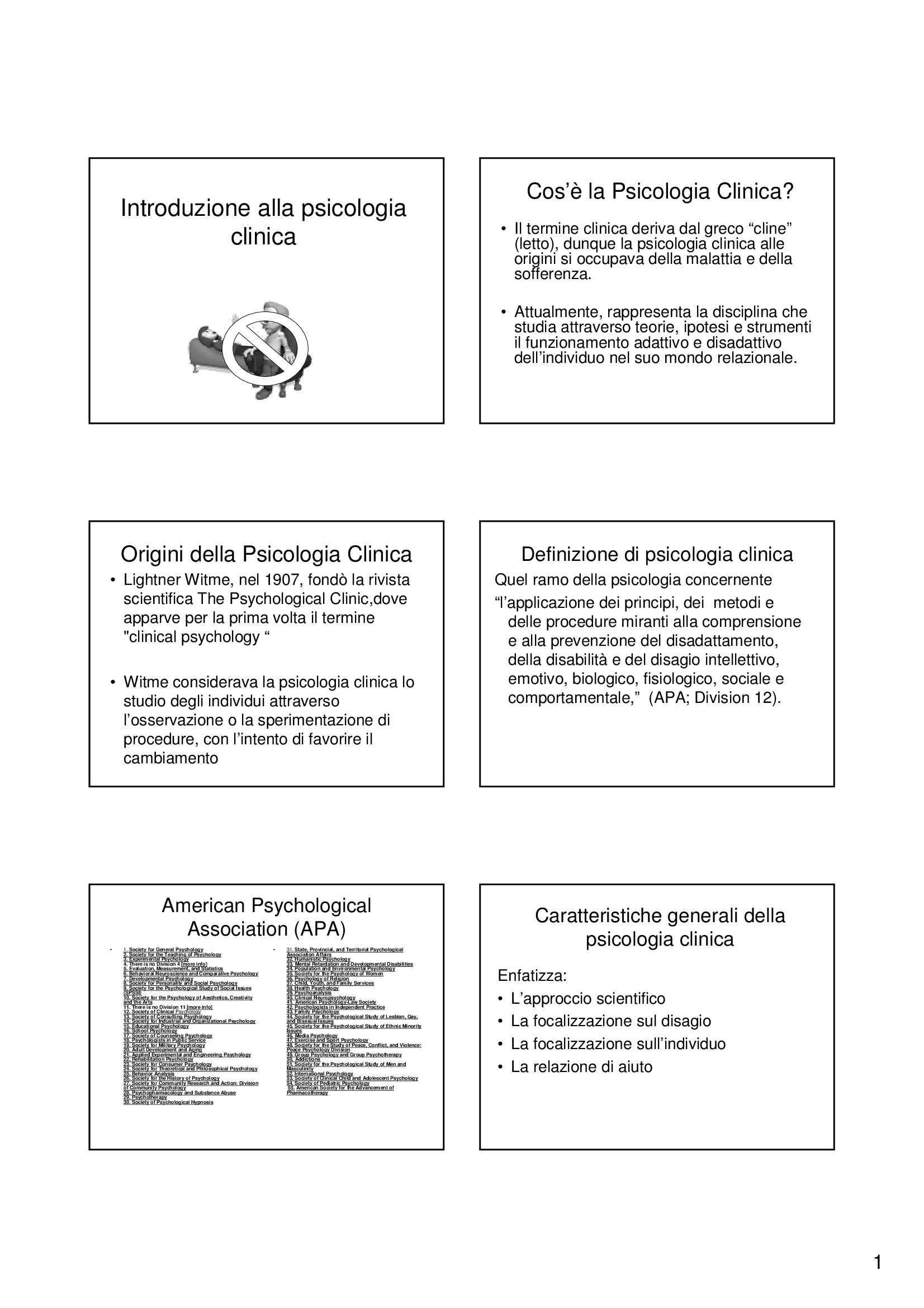 Introduzione alla psicologia clinica