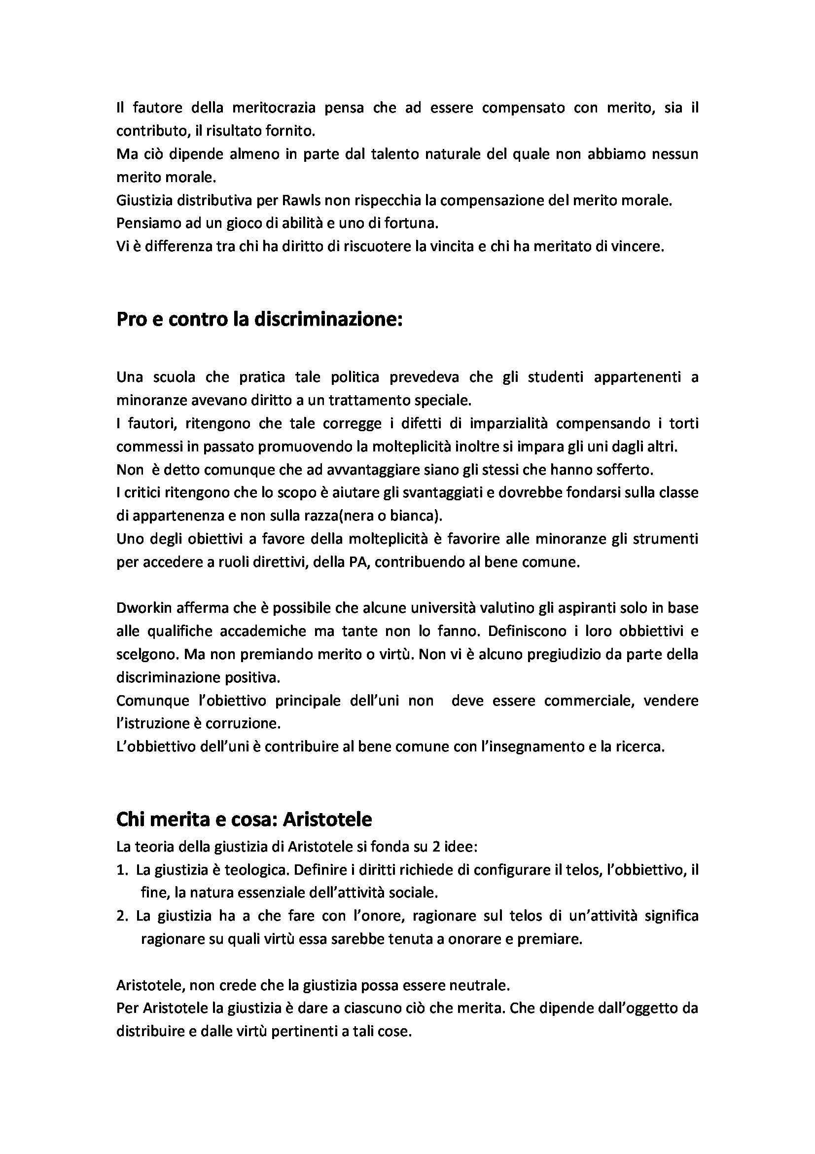 Riassunto esame Filosofia del diritto, prof. Ricciardi, libro consigliato Giustizia, il nostro bene comune ed. 2010, Sandel Pag. 16