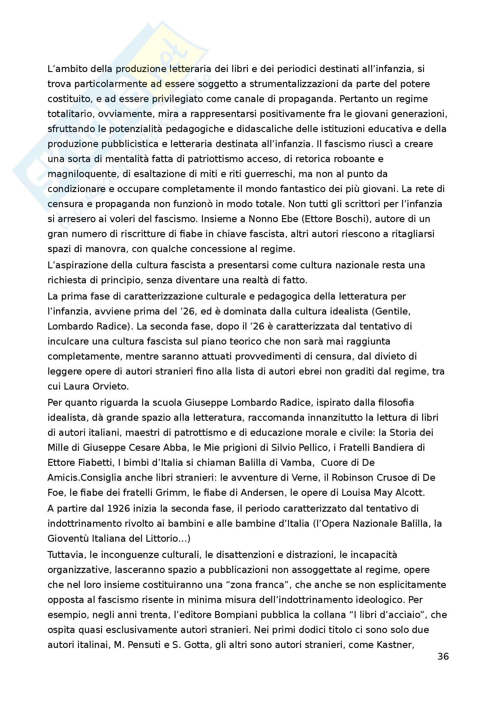 Riassunto esame Letteratura per l'Infanzia, prof. Boero, libro consigliato La Letteratura per l'Infanzia Pag. 36