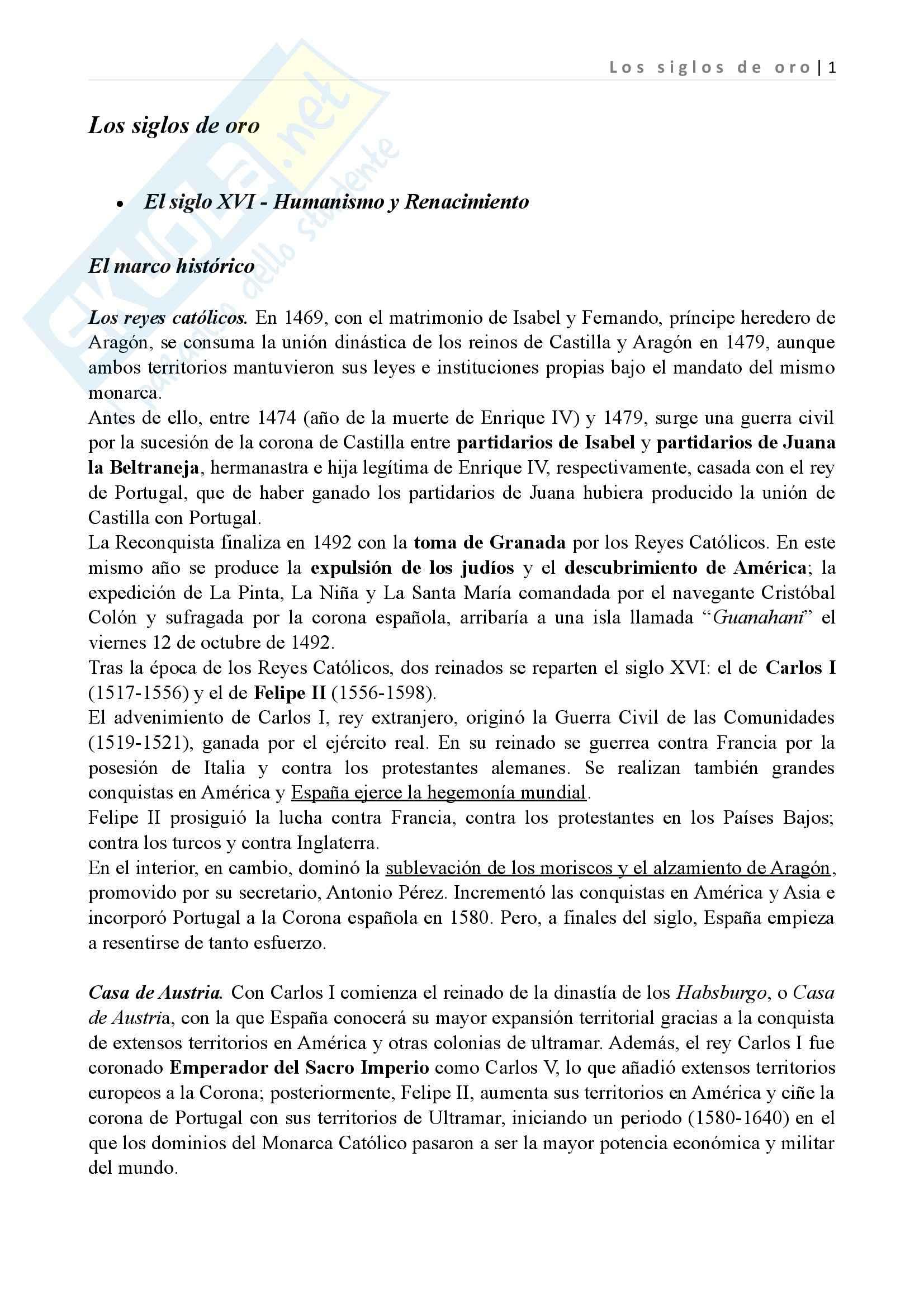 Los siglos de oro, Letteratura spagnola II