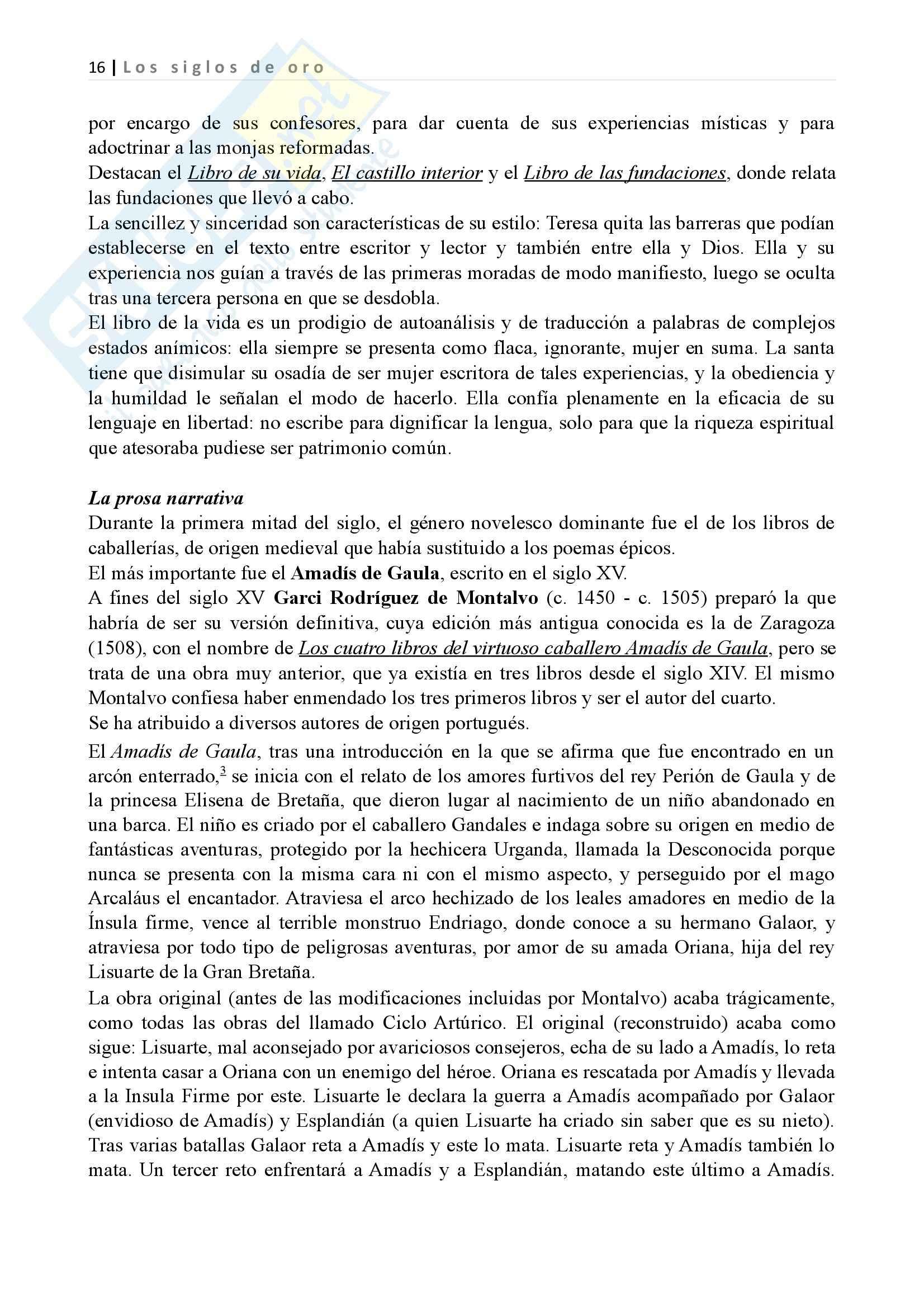 Los siglos de oro, Letteratura spagnola II Pag. 16