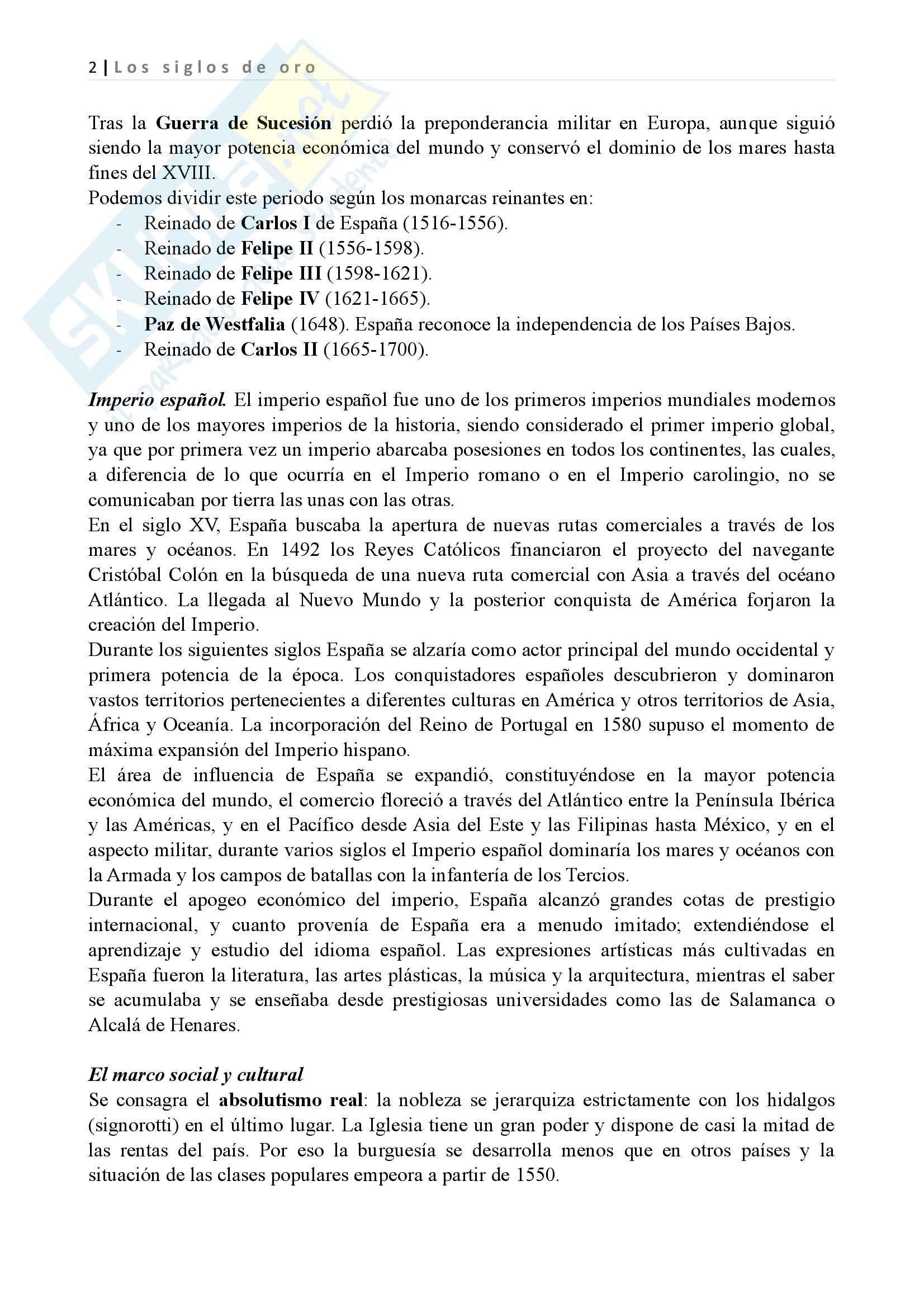 Los siglos de oro, Letteratura spagnola II Pag. 2