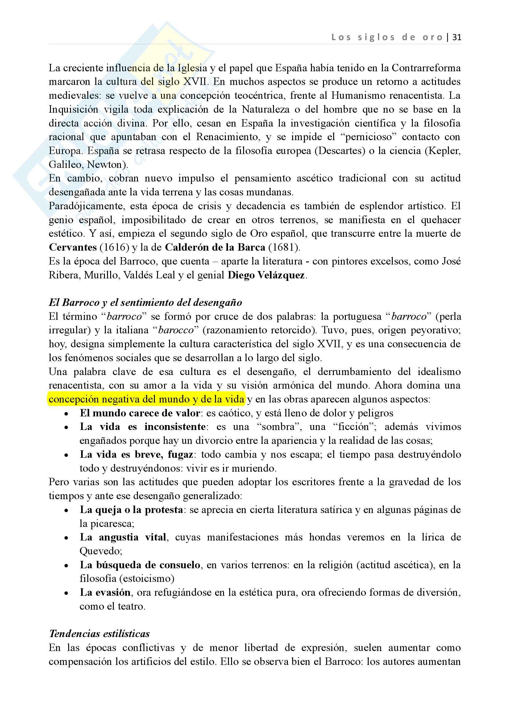 Los siglos de oro, Letteratura spagnola II Pag. 31