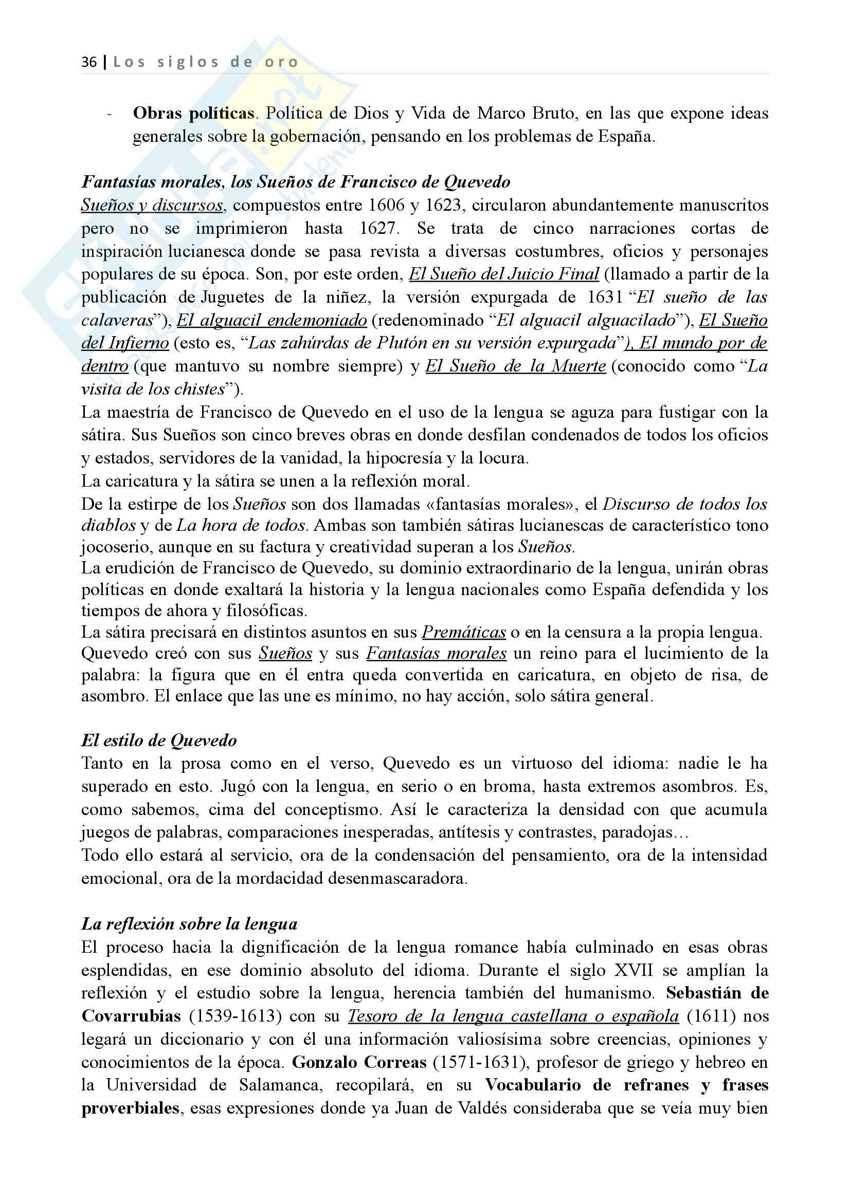 Los siglos de oro, Letteratura spagnola II Pag. 36