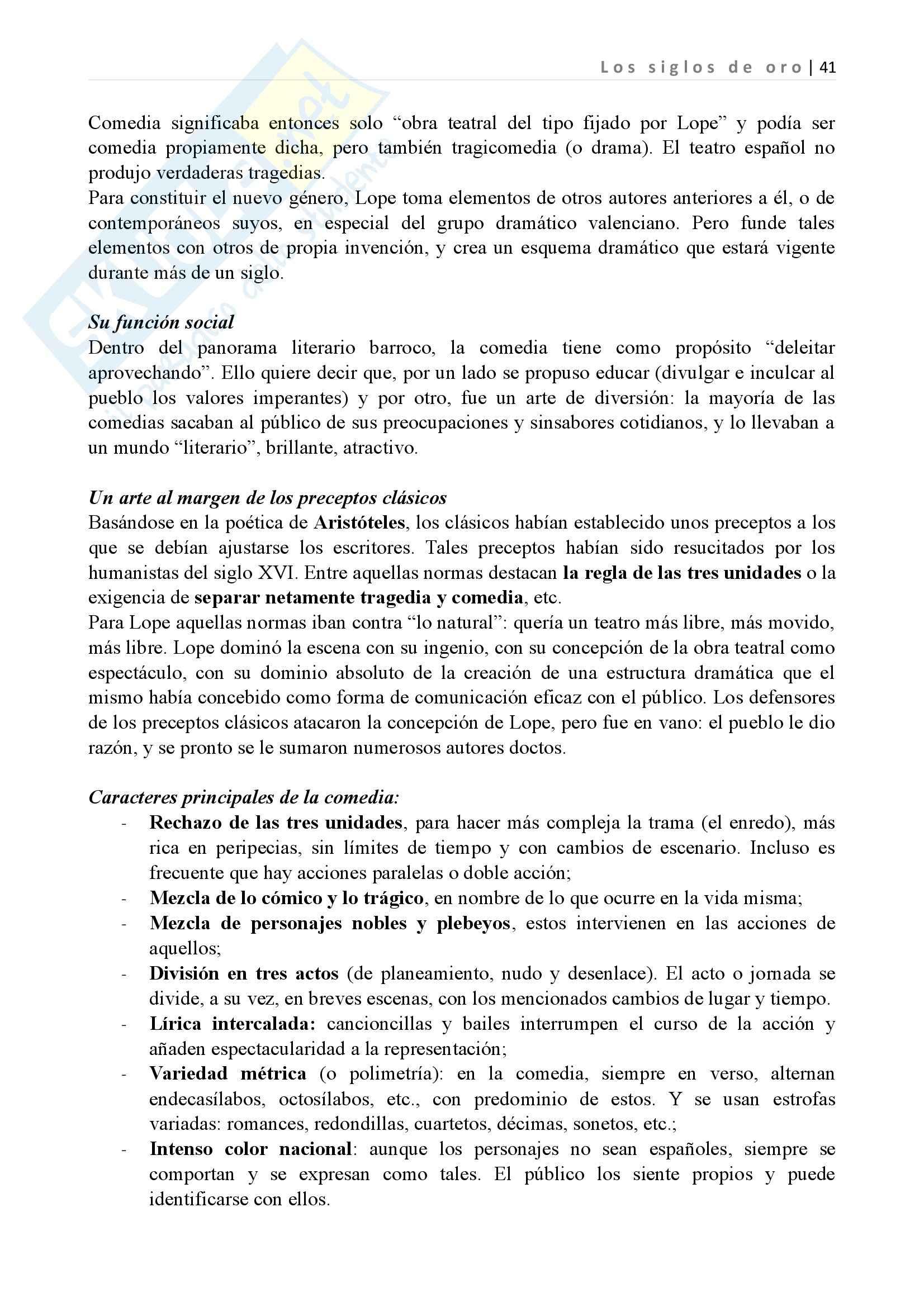 Los siglos de oro, Letteratura spagnola II Pag. 41