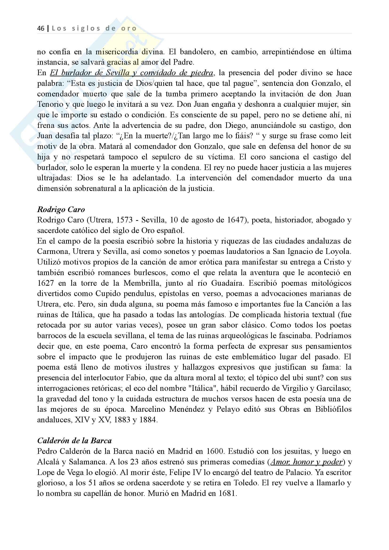 Los siglos de oro, Letteratura spagnola II Pag. 46