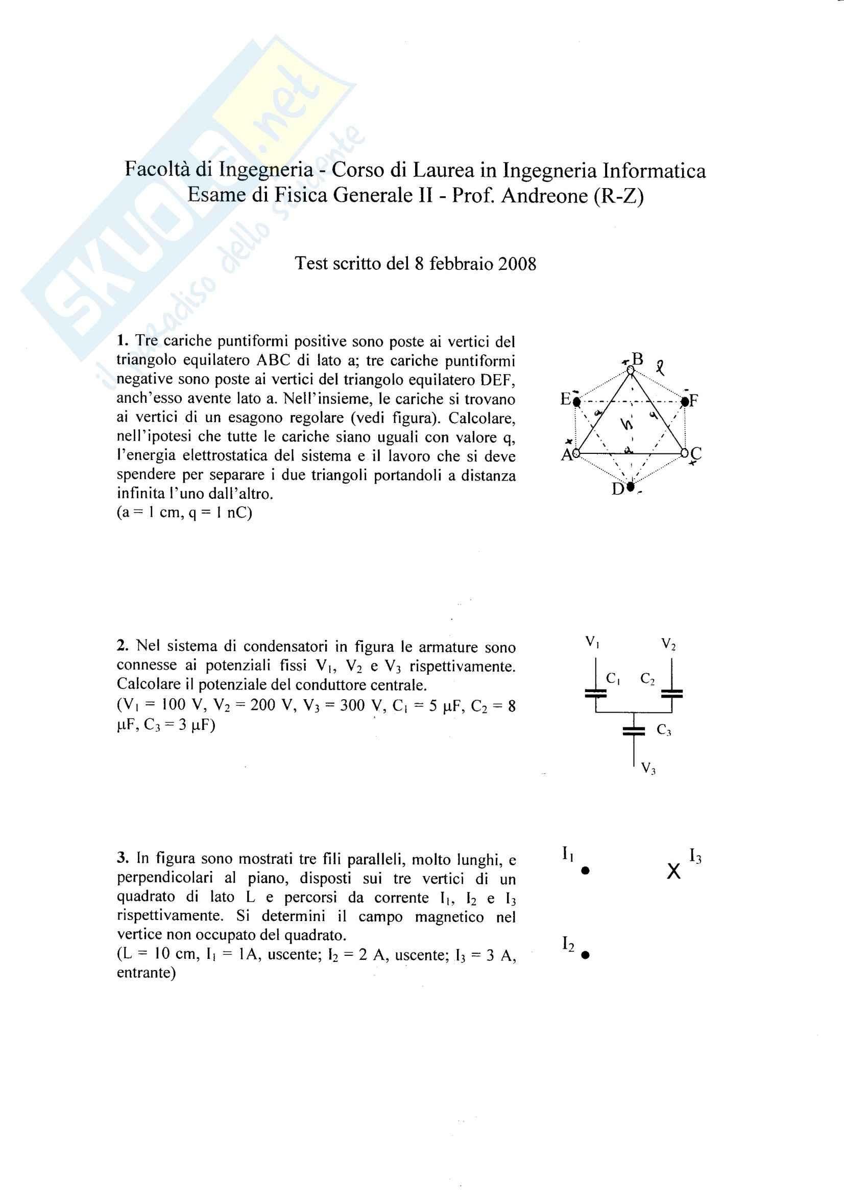 fisica II - Esercitazione - esame 2008 andreone