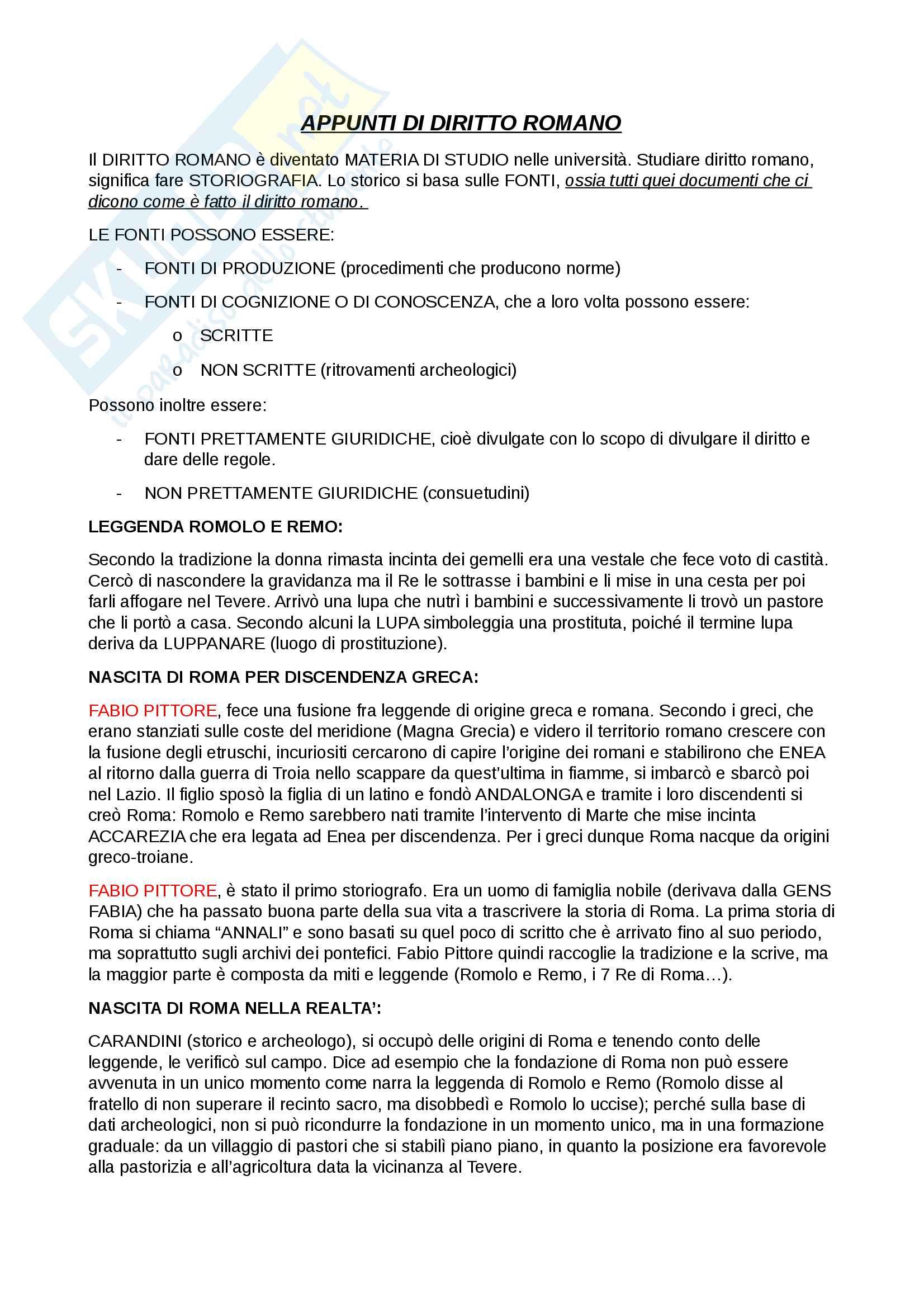 Appunti di Istituzioni di Diritto Romano (Parte Scritta)