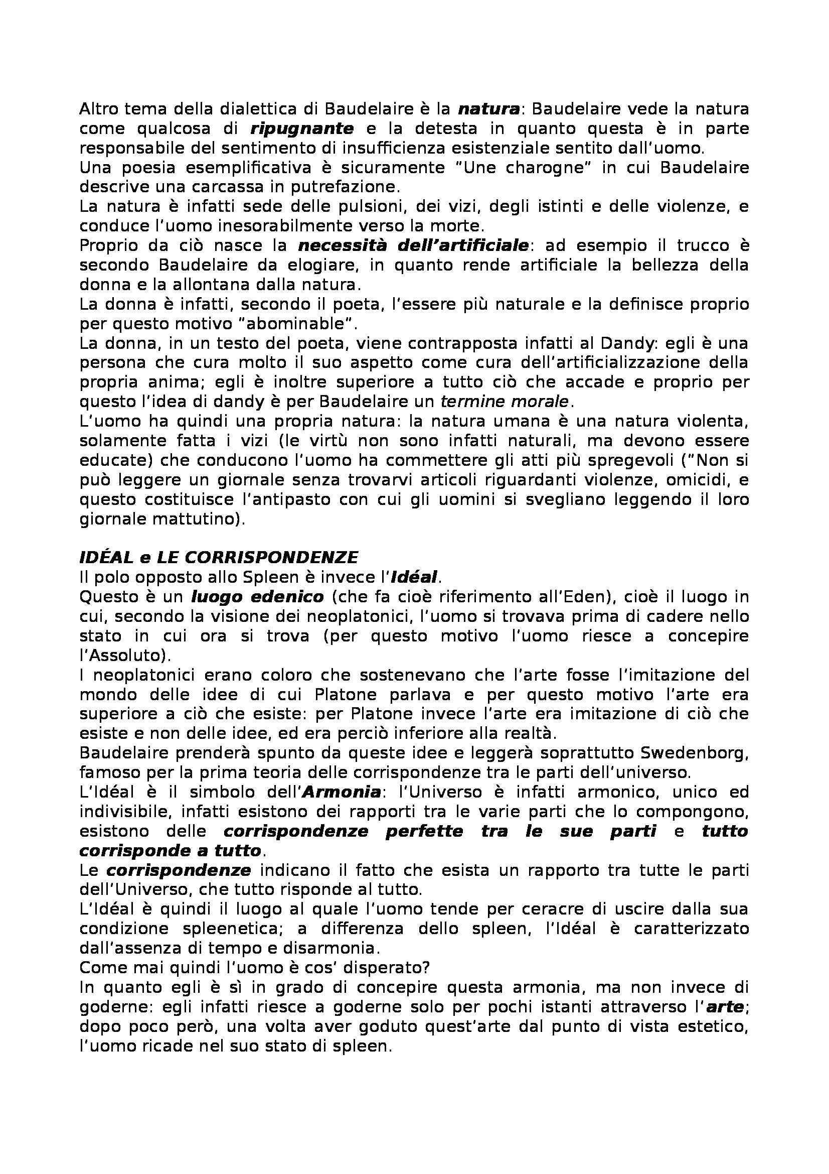 Letteratura francese - Les Fleurs du Mal, Baudelaire Pag. 2