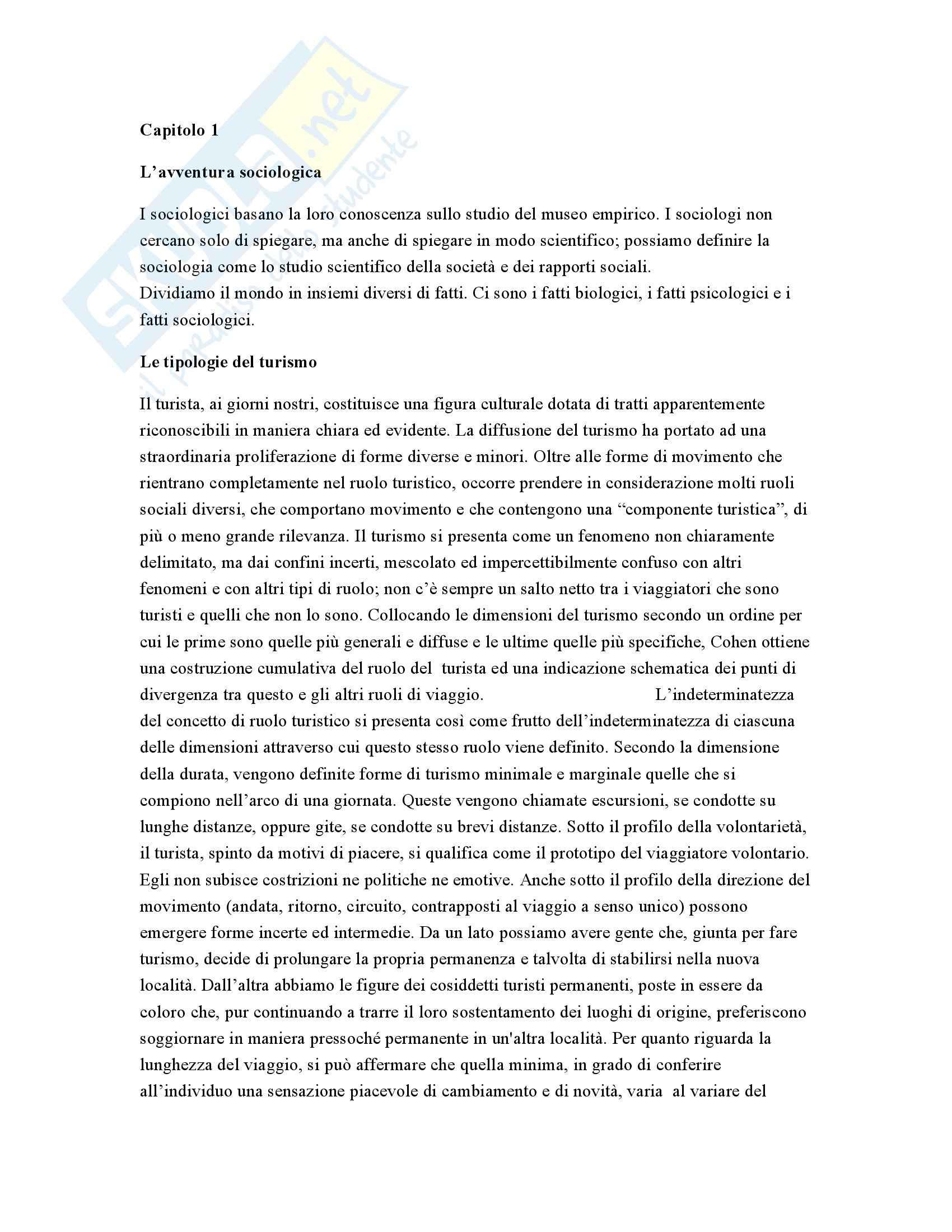 Sociologia del turismo - Appunti