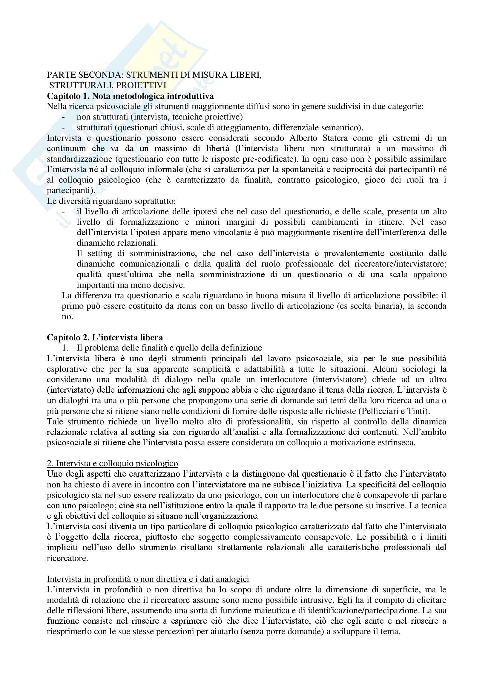 Riassunto esame psicologia dell'intervista e del questionario, Prof. Orazio Licciardello, libro consigliato Gli strumenti psicosociali nella ricerca e nell'intervento. Premesse epistemologiche e dimensioni applicative Pag. 6