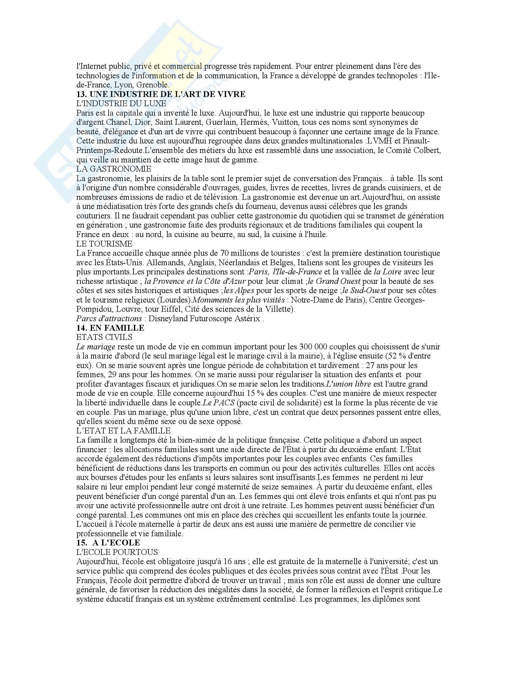 Lingua francese - civilisation -  Appunti Pag. 6