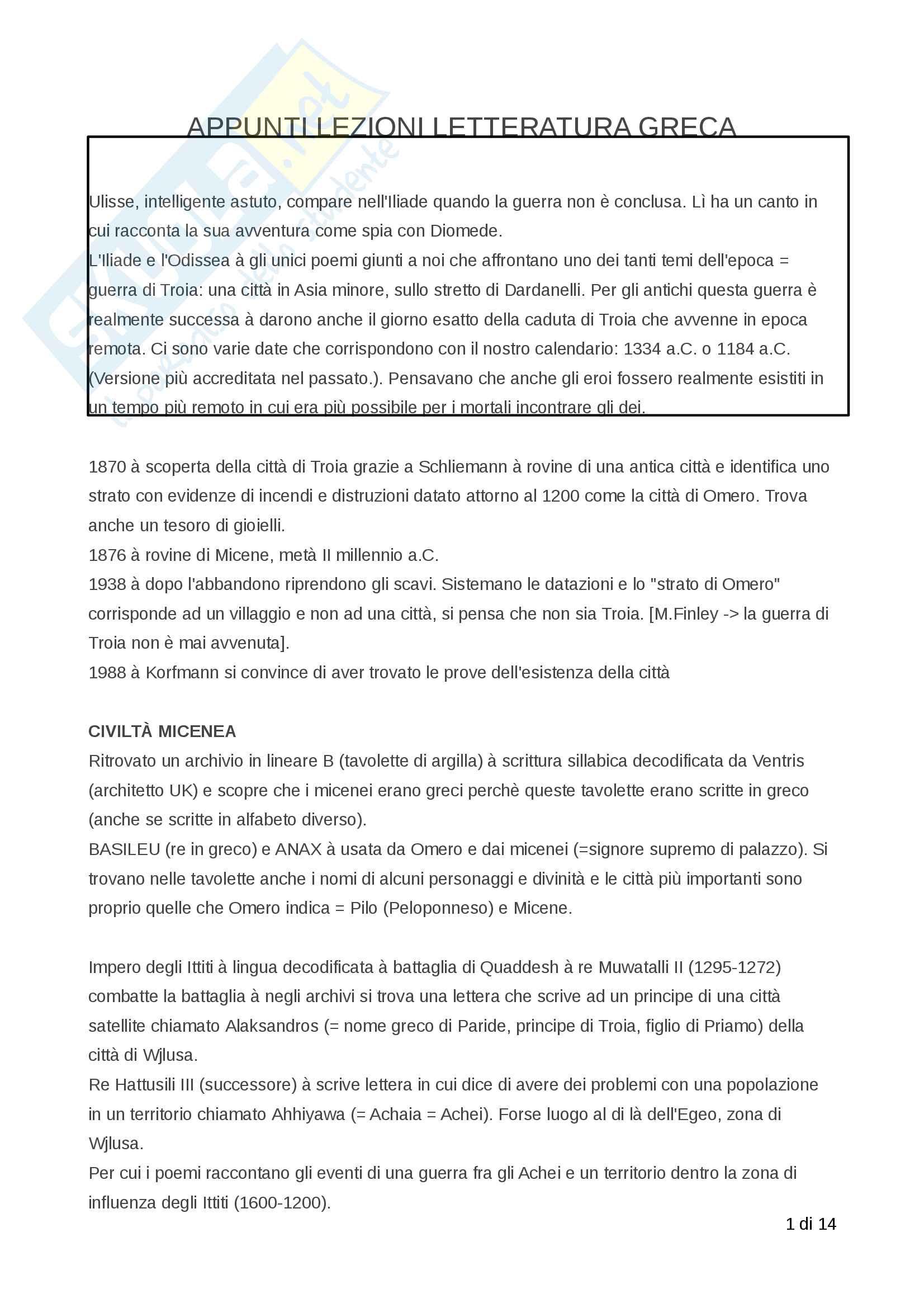 Appunti Letteratura greca