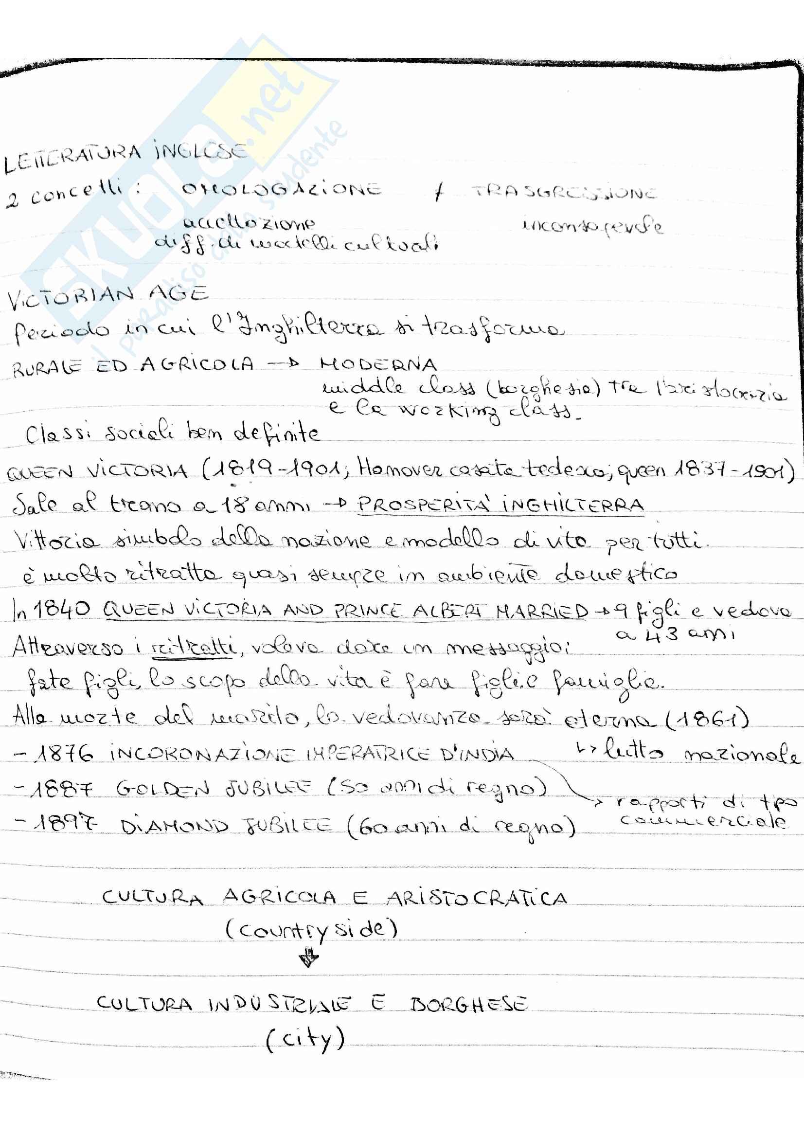 Letteratura inglese 1: Victorian Age