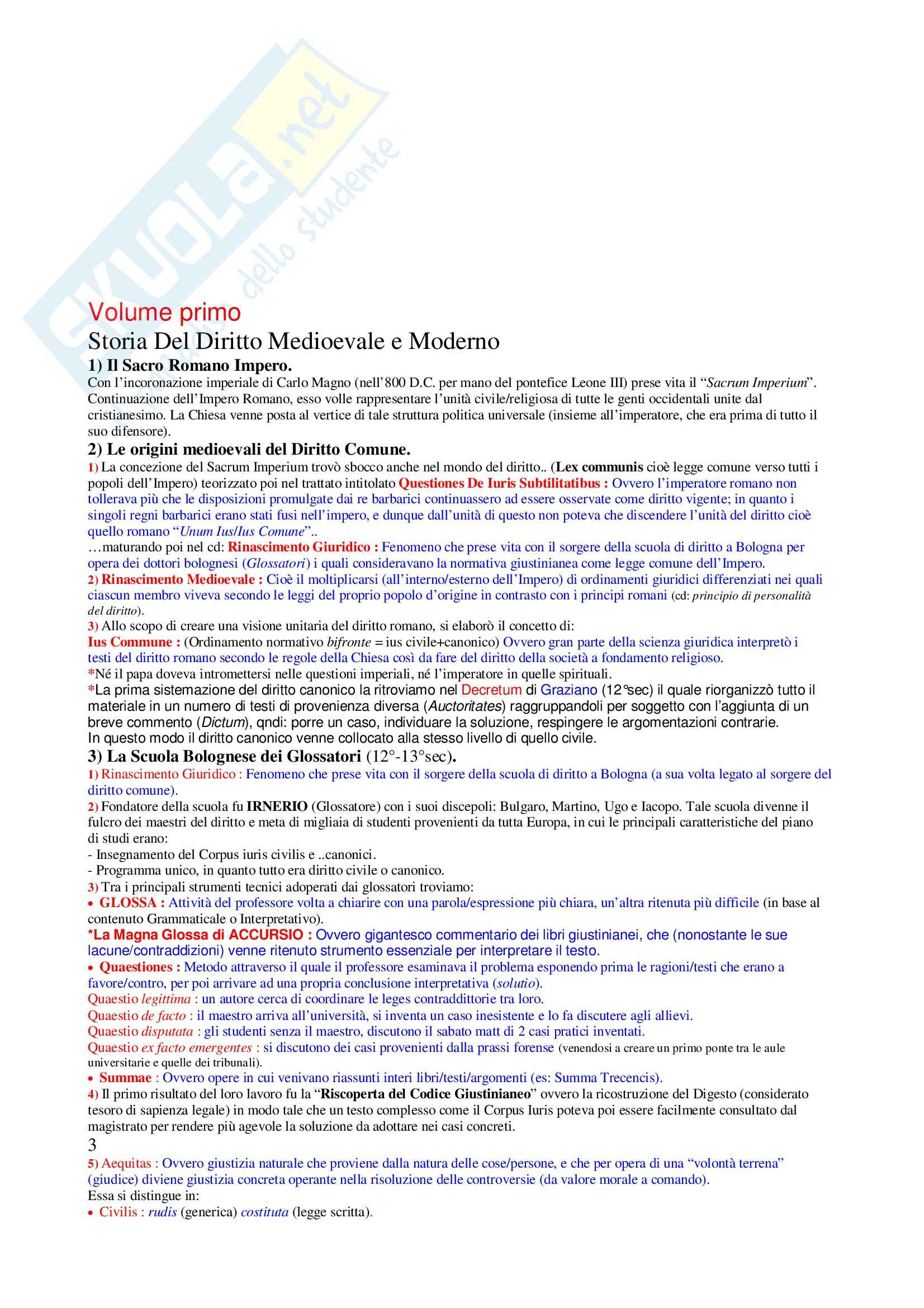 Riassunto esame Storia del diritto medievale e moderno, prof. Vano, libro consigliato Storia del diritto moderno in Europa, Cavanna