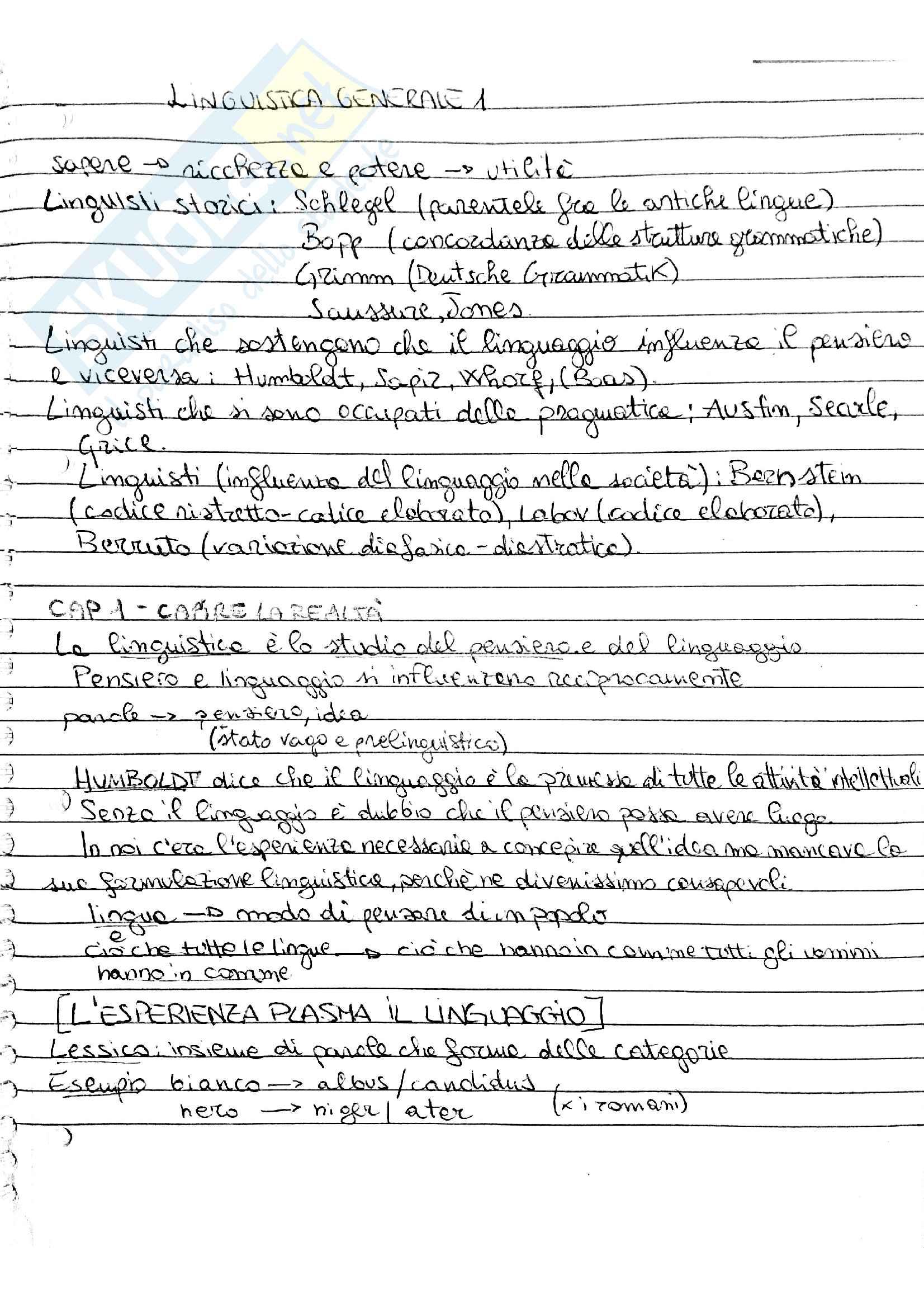 Riassunto esame linguistica generale prof Vallauri