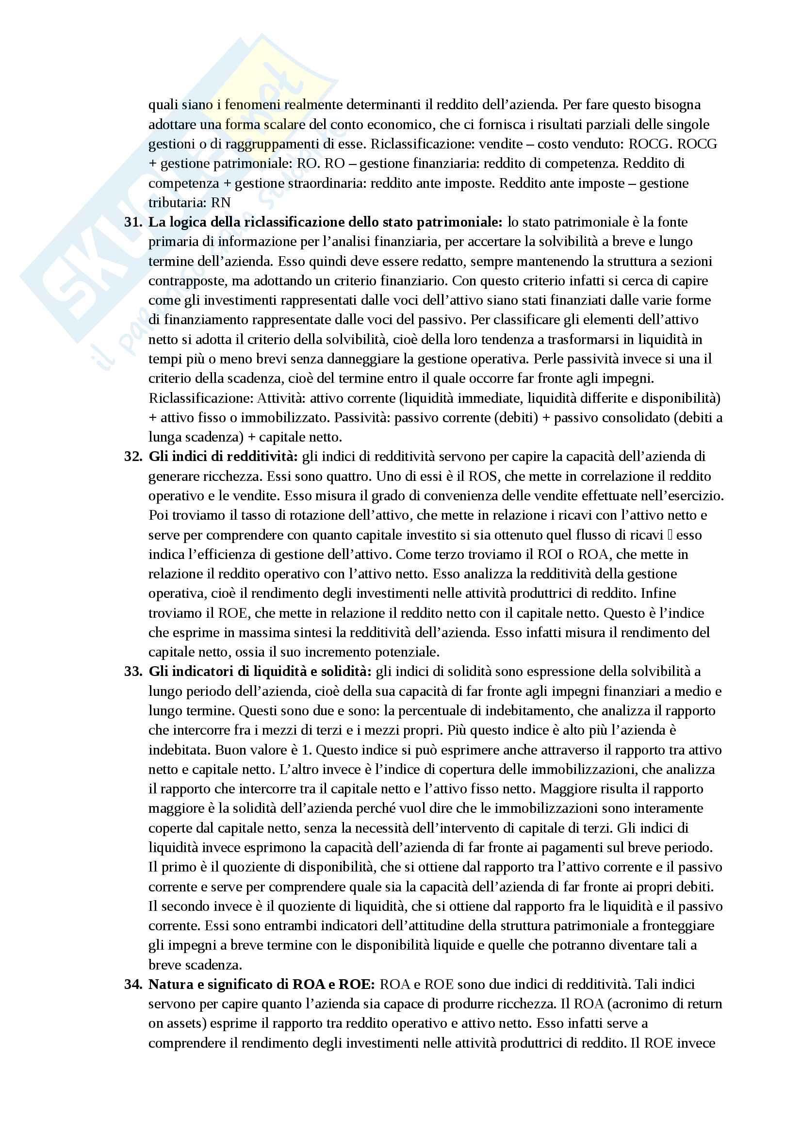 Domande per il ripasso di economia aziendale II Pag. 6