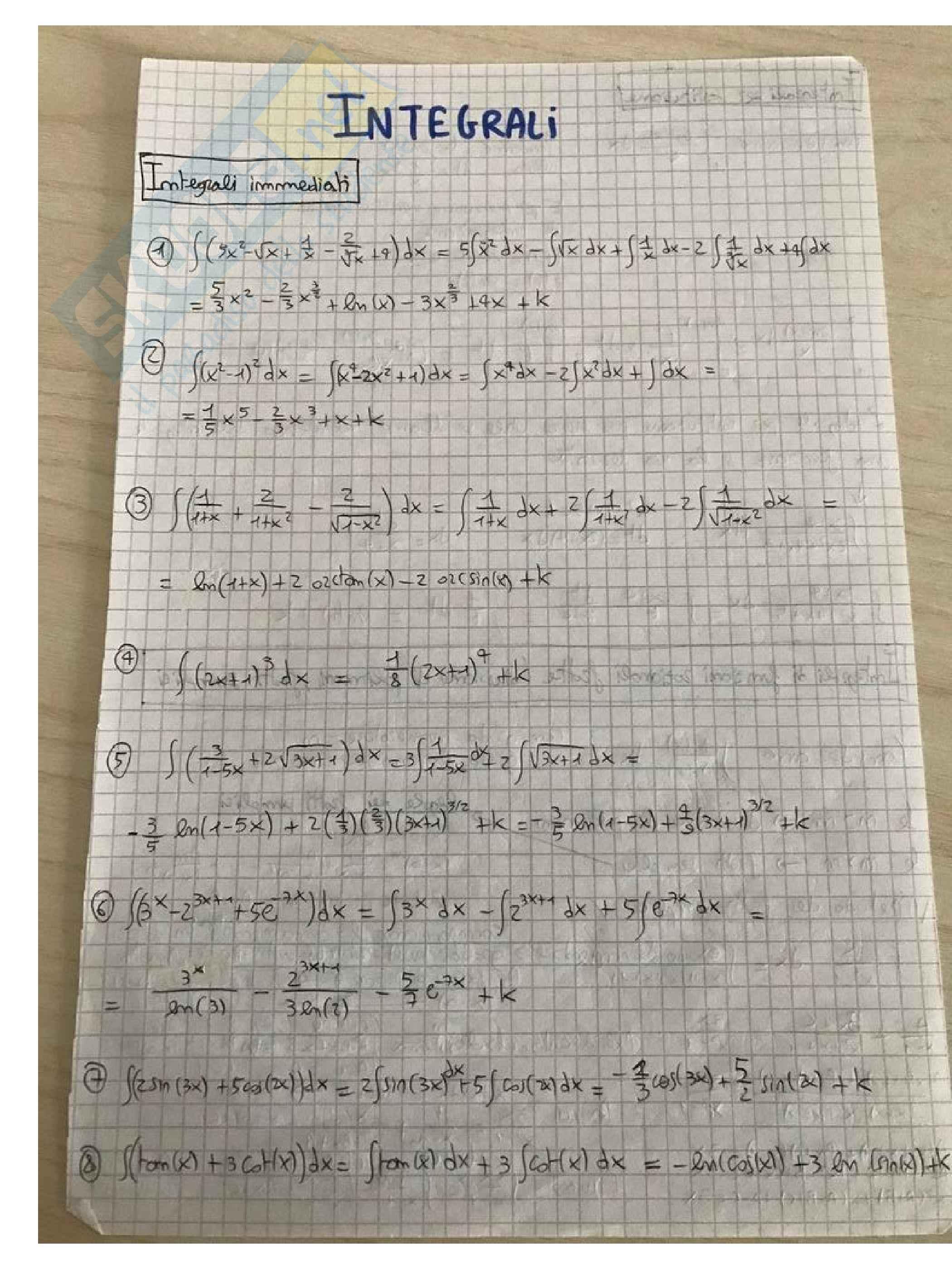 Analisi 1 - esercizi svolti sugli integrali, prof Giovanni Dore