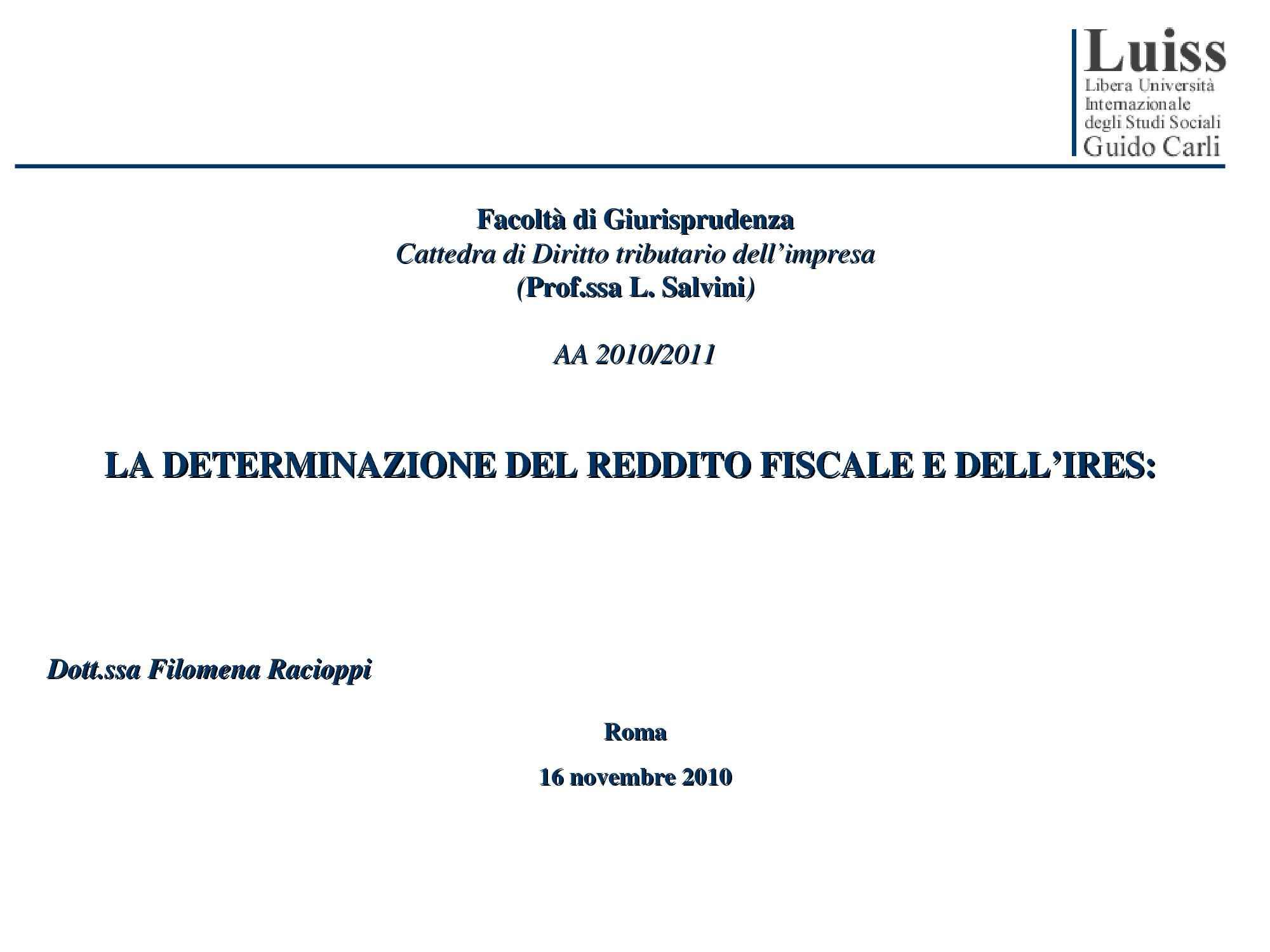Determinazione reddito fiscale e Ires