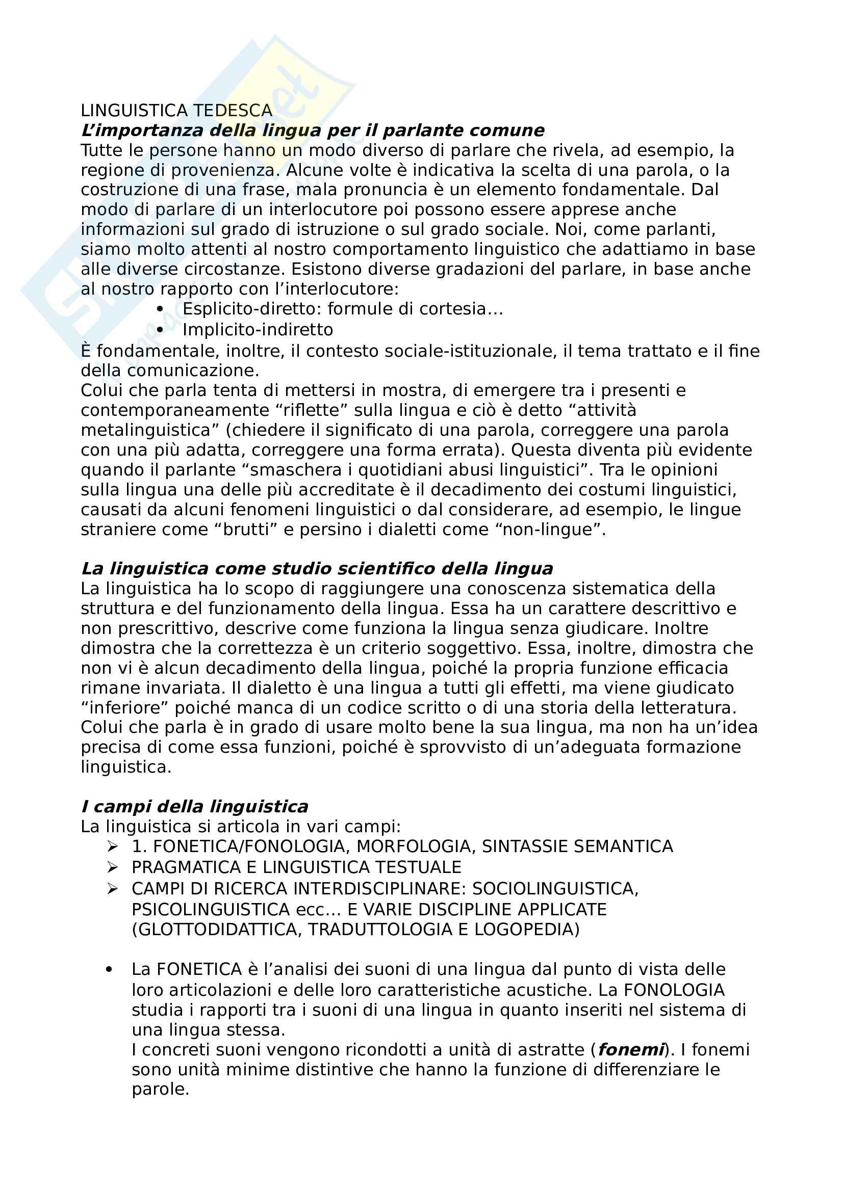 Riassunto esame linguistica tedesca, prof. Di Meola, libro consigliato La linguistica tedesca, Di Meola