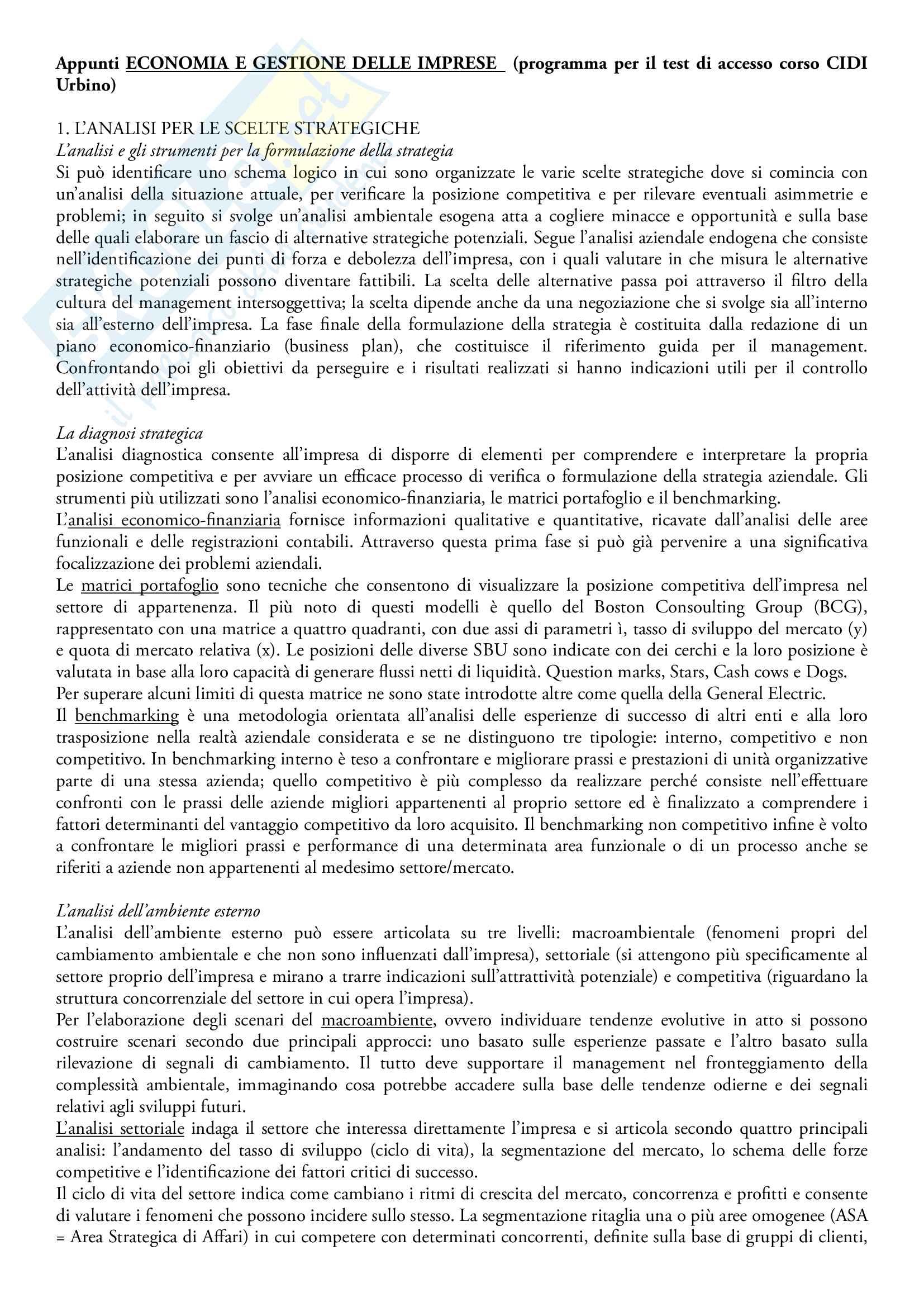 Appunti di Economia e gestione delle imprese, prof. Marco Cioppi per test ammissione CIDI urbino