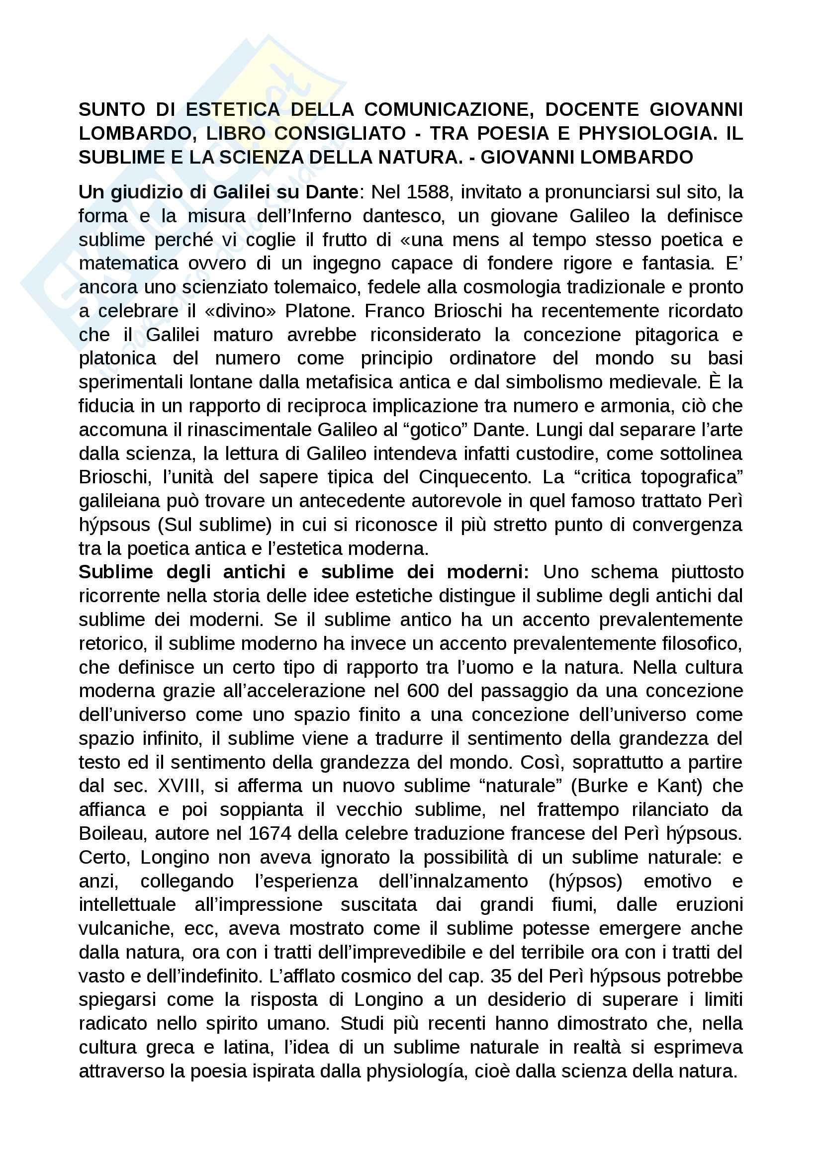 Sunto di estetica della comunicazione, docente Giovanni Lombardo. Libro consigliato Tra poesia e physiologia. Il sublime e la scienza della natura, Giovanni Lombardo