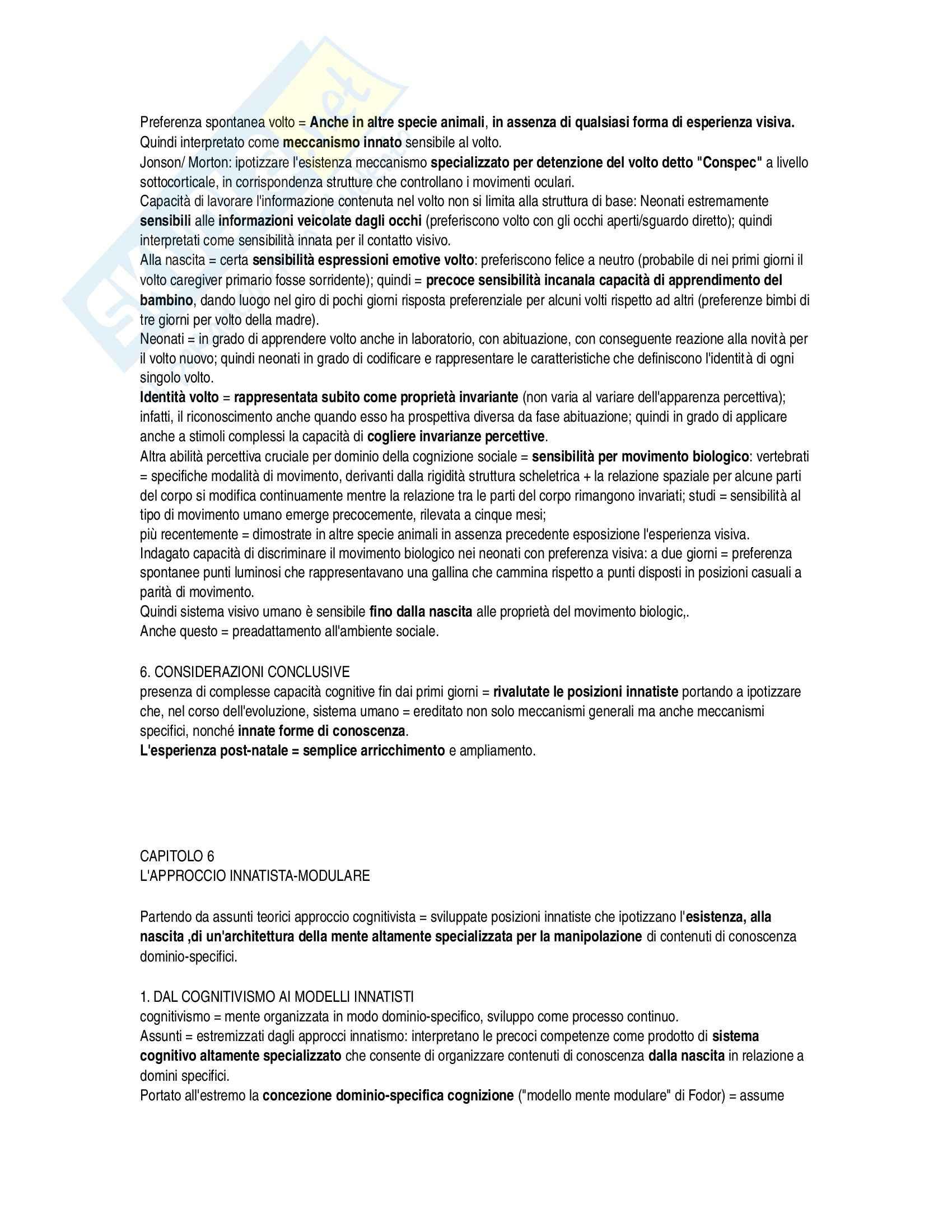 Riassunto esame Psicologia, prof. Simion, libro consigliato Lo Sviluppo della Mente Umana di Macchi Cassia Pag. 31