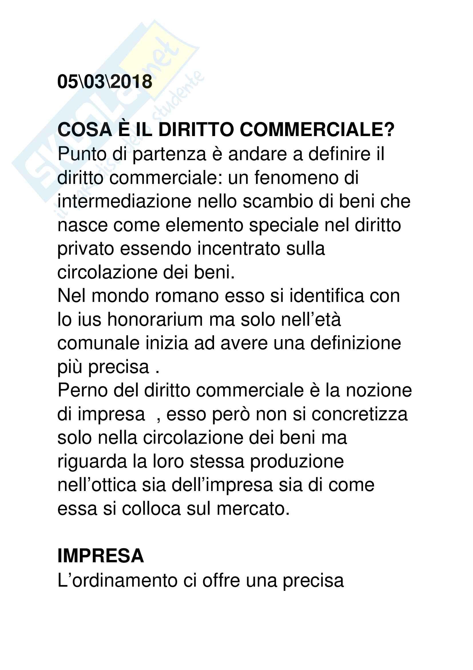 Riassunto esame  di  Diritto  Commerciale Prof. Guizzi