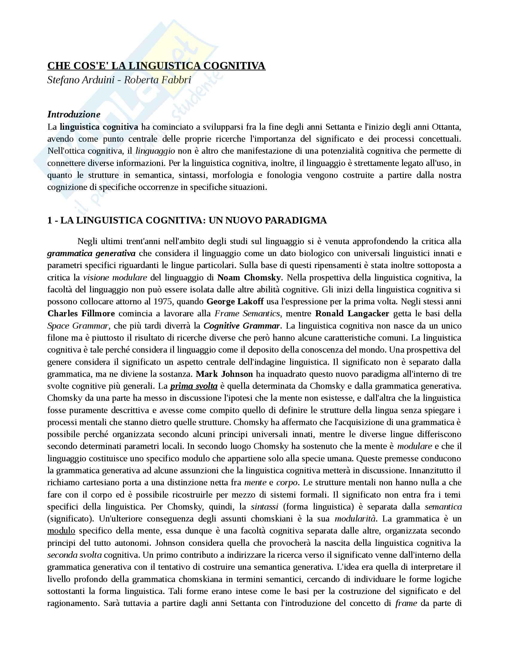 Riassunto esame Glottologia e linguistica avanzato, prof. Benvenuto, libro consigliato Che cos'è la linguistica cognitiva, Arduini, Fabbri