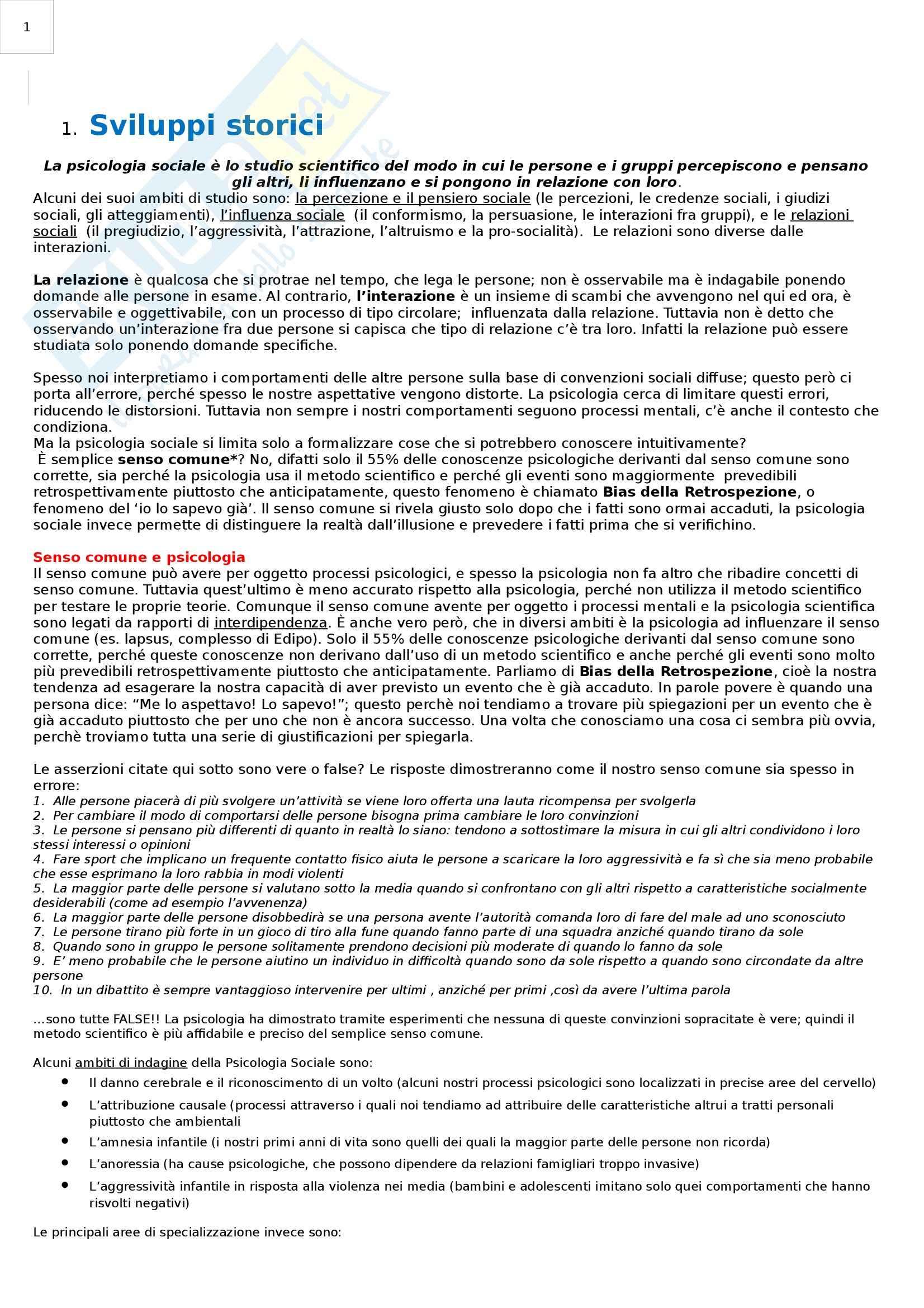 Riassunto esame Psicologia Sociale, prof. Paleari, libro consigliato Psicologia Sociale, Myers