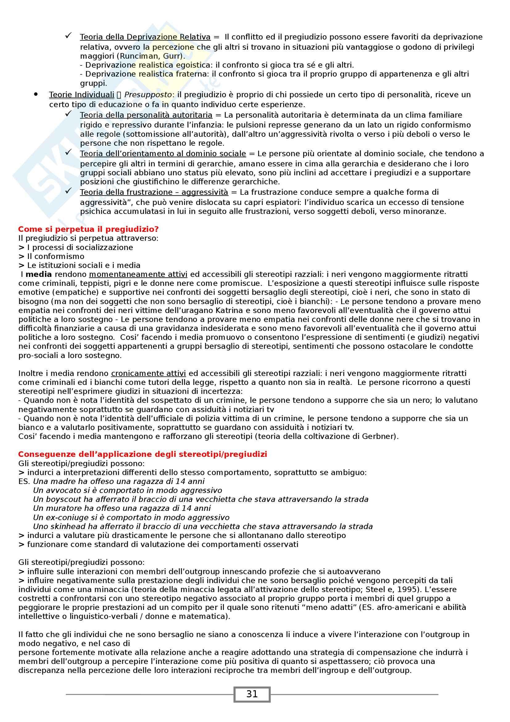 Riassunto esame Psicologia Sociale, prof. Paleari, libro consigliato Psicologia Sociale, Myers Pag. 31