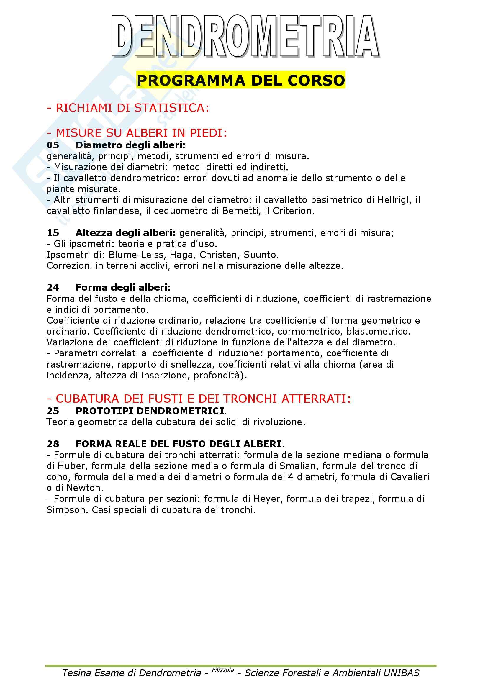 appunto D. Totaro Dendrometria