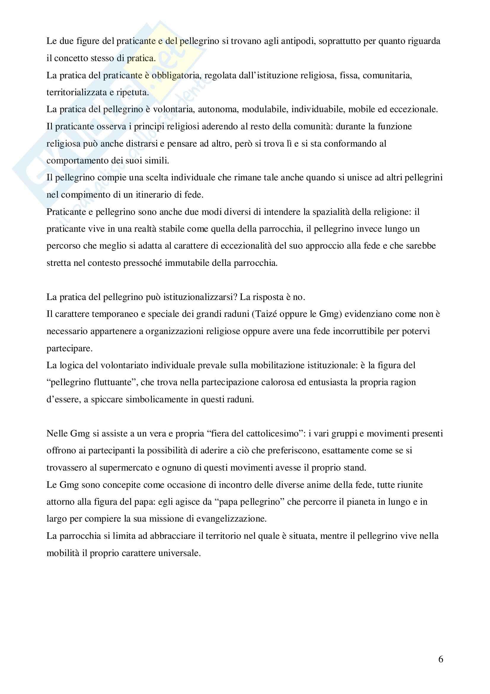 Riassunto esame Sociologia, prof. Marzano, libro consigliato Il pellegrino e il convertito, Lèger Pag. 6
