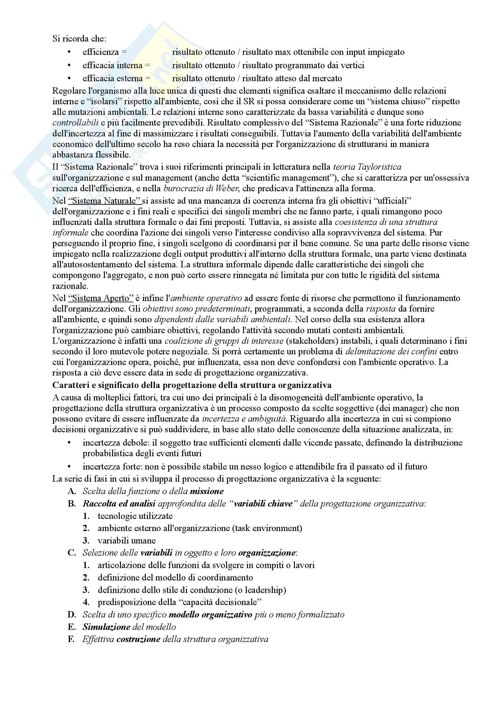 Riassunto esame Organizzazione Aziendale, prof. Cavaliere, libro consigliato Elementi di progettazione organizzativa e cenni di programmazione del personale, D'Anna Pag. 2