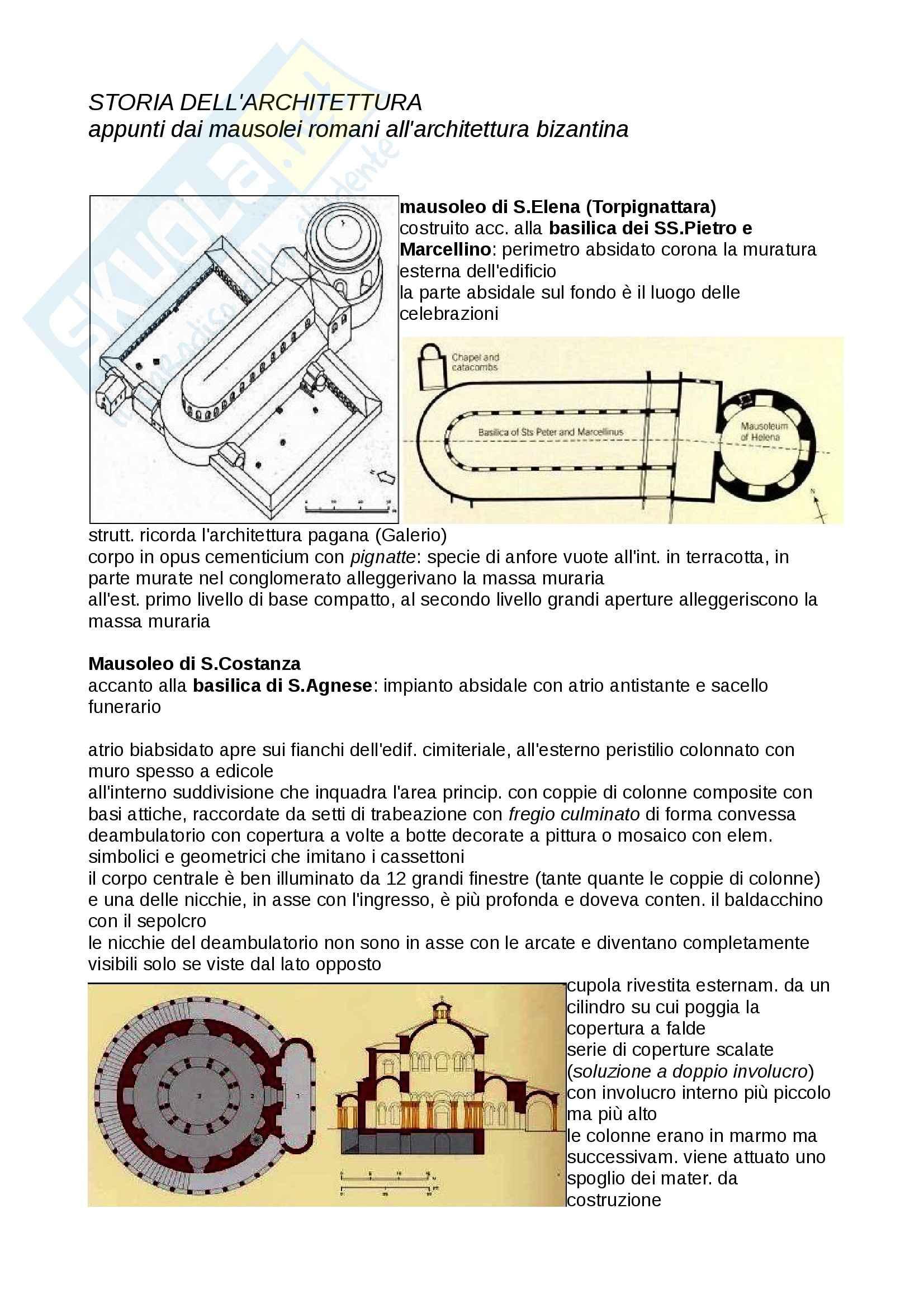 Storia dell'Architettura - dai mausolei romani all'architettura bizantina