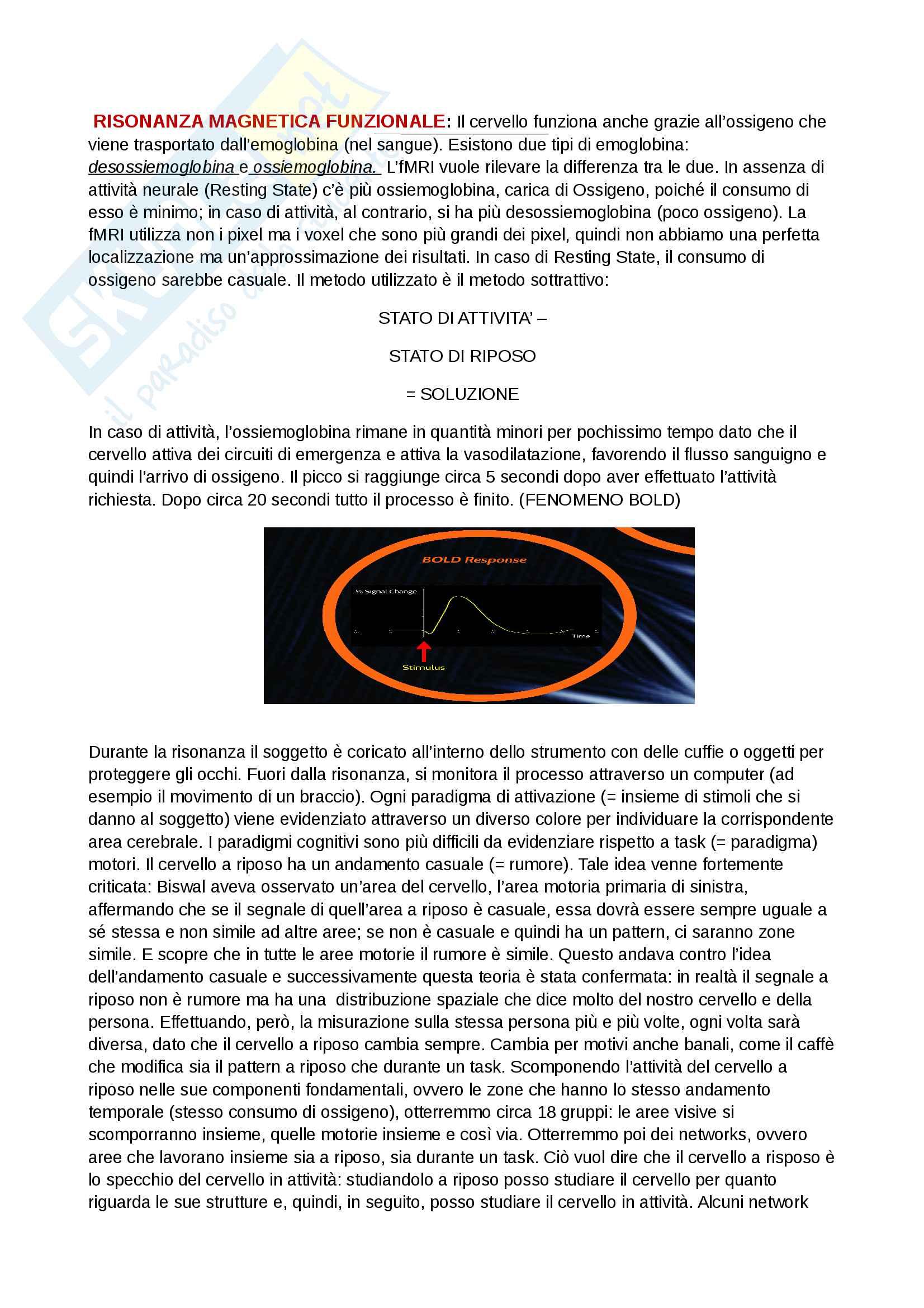 Risonanza Magnetica Funzionale, psicologia fisiologica, fMRI, fenomeno Bold