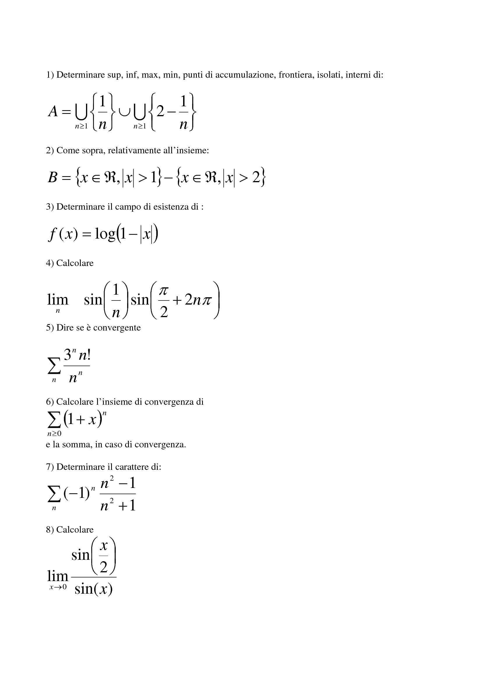 Matematica generale - Limiti e funzioni