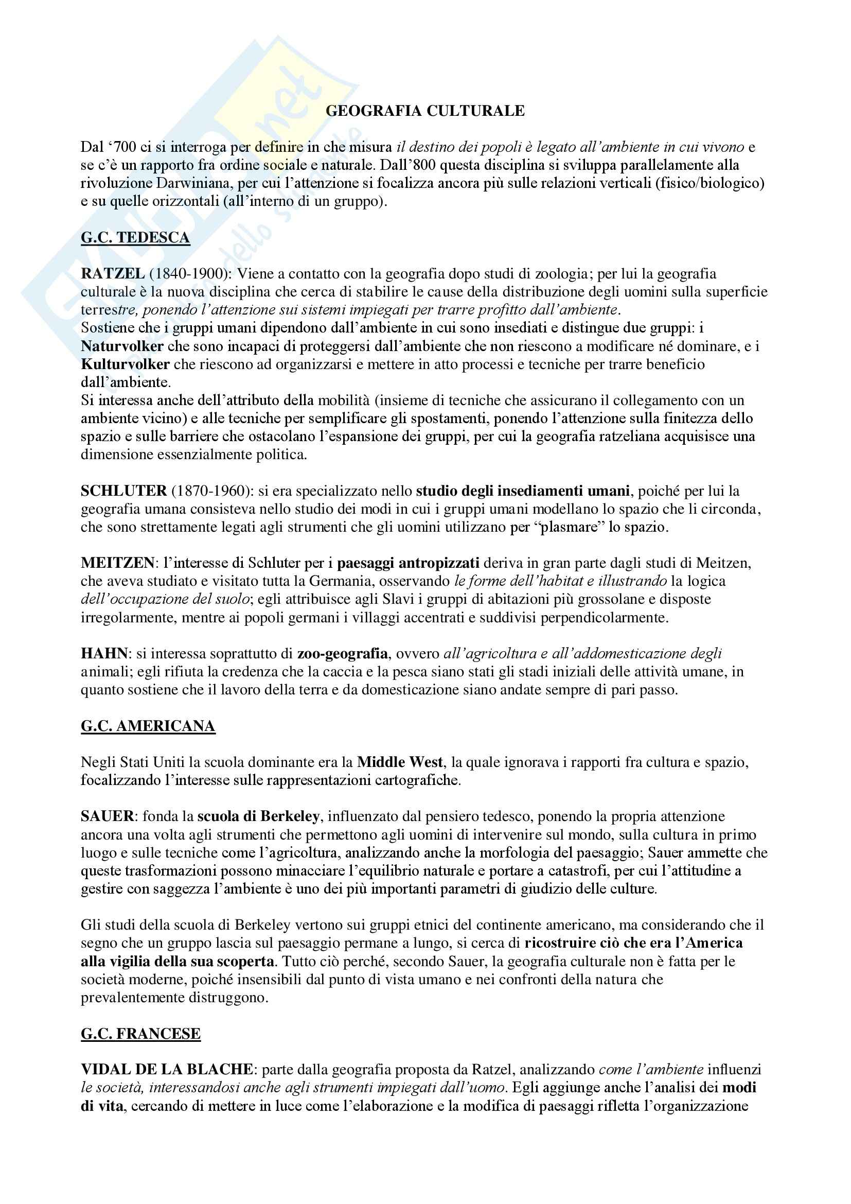 Riassunto esame Geografia culturale, prof. Da Pozzo, libro consigliato La Geografia Culturale, Claval