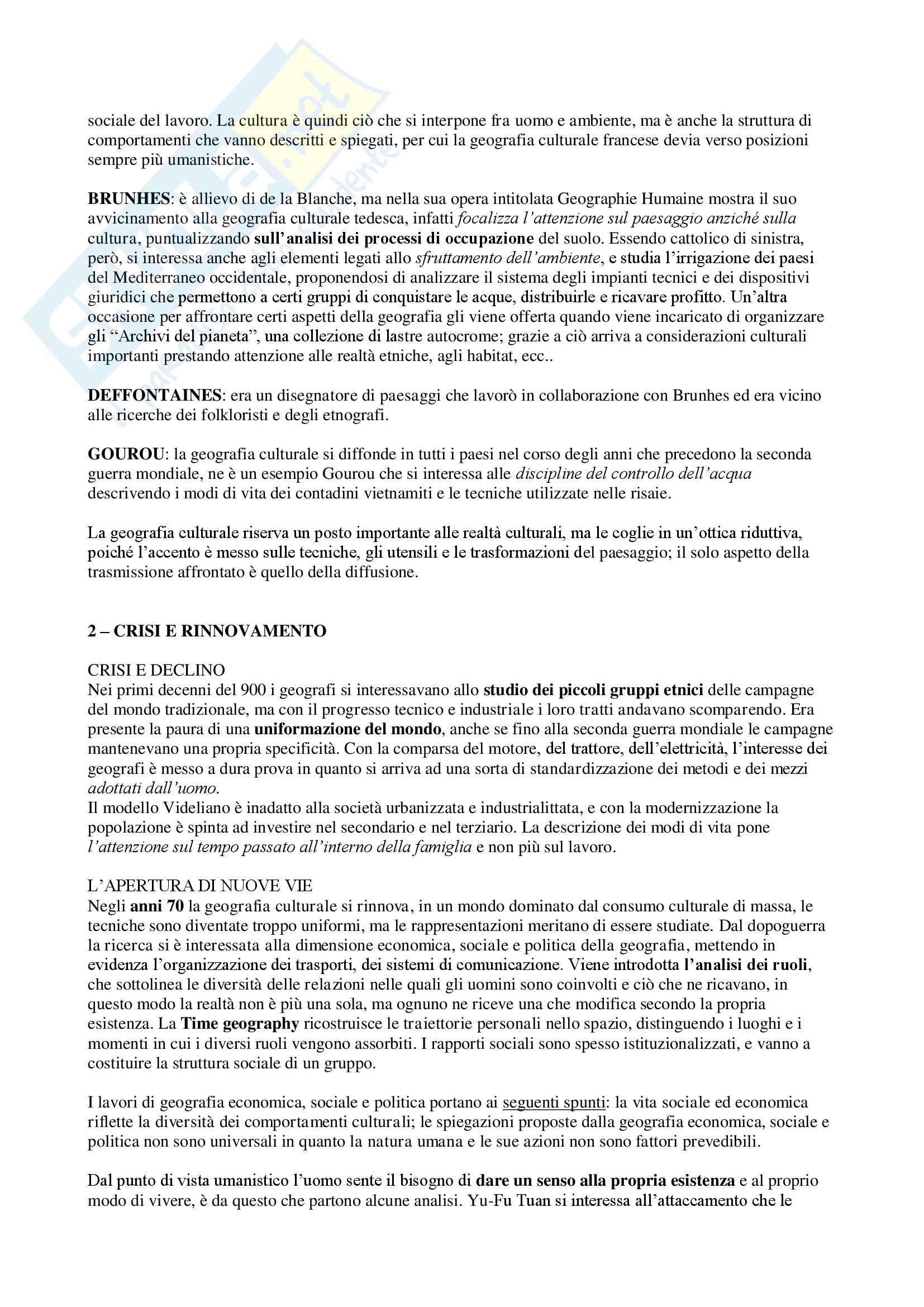 Riassunto esame Geografia culturale, prof. Da Pozzo, libro consigliato La Geografia Culturale, Claval Pag. 2