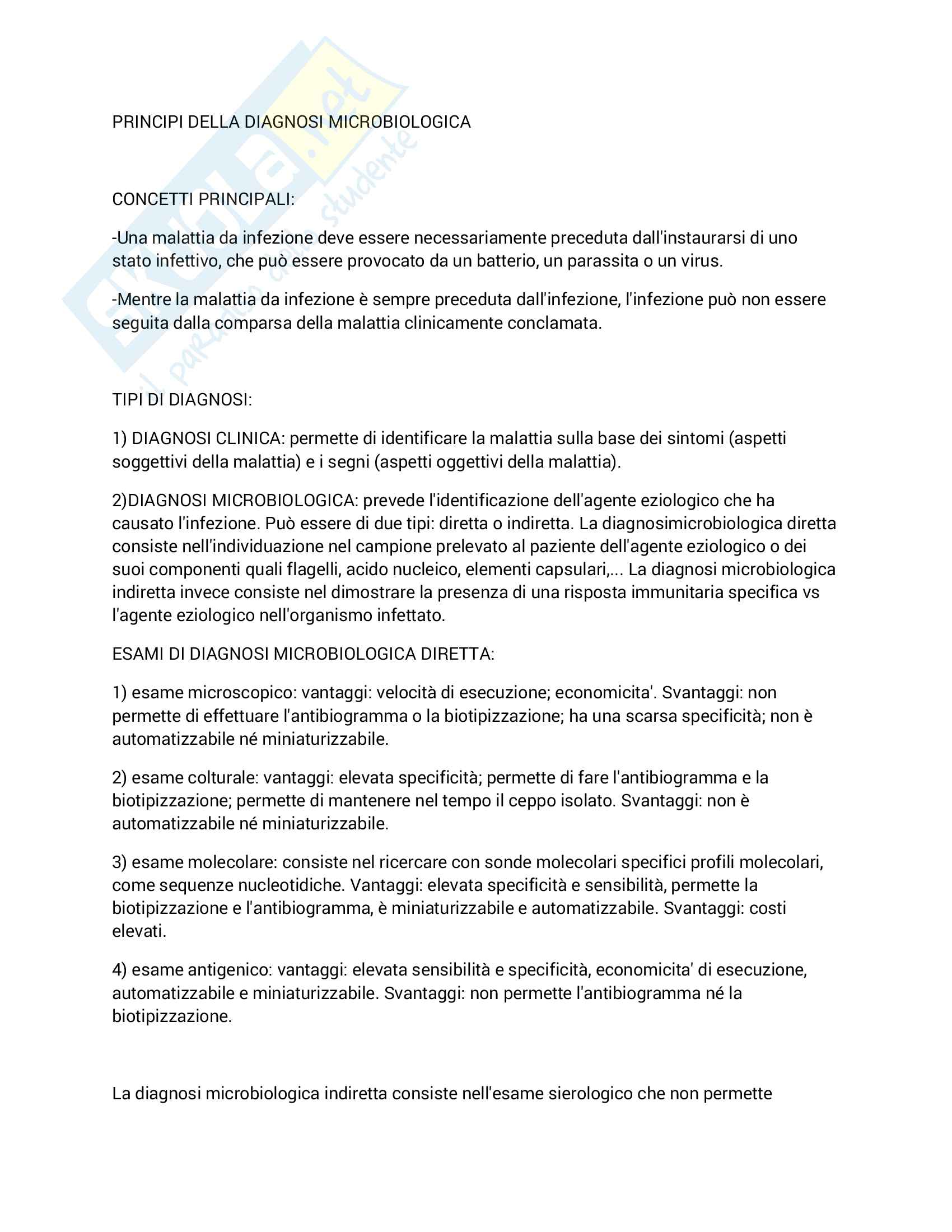Principi della diagnosi microbiologica
