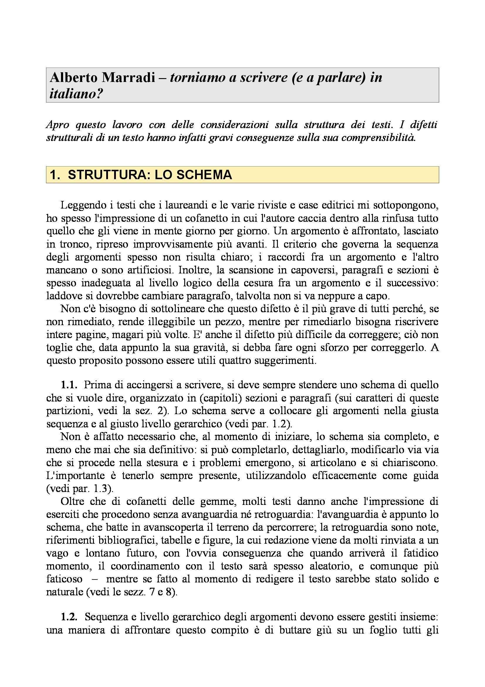 Scrivere e parlare in italiano