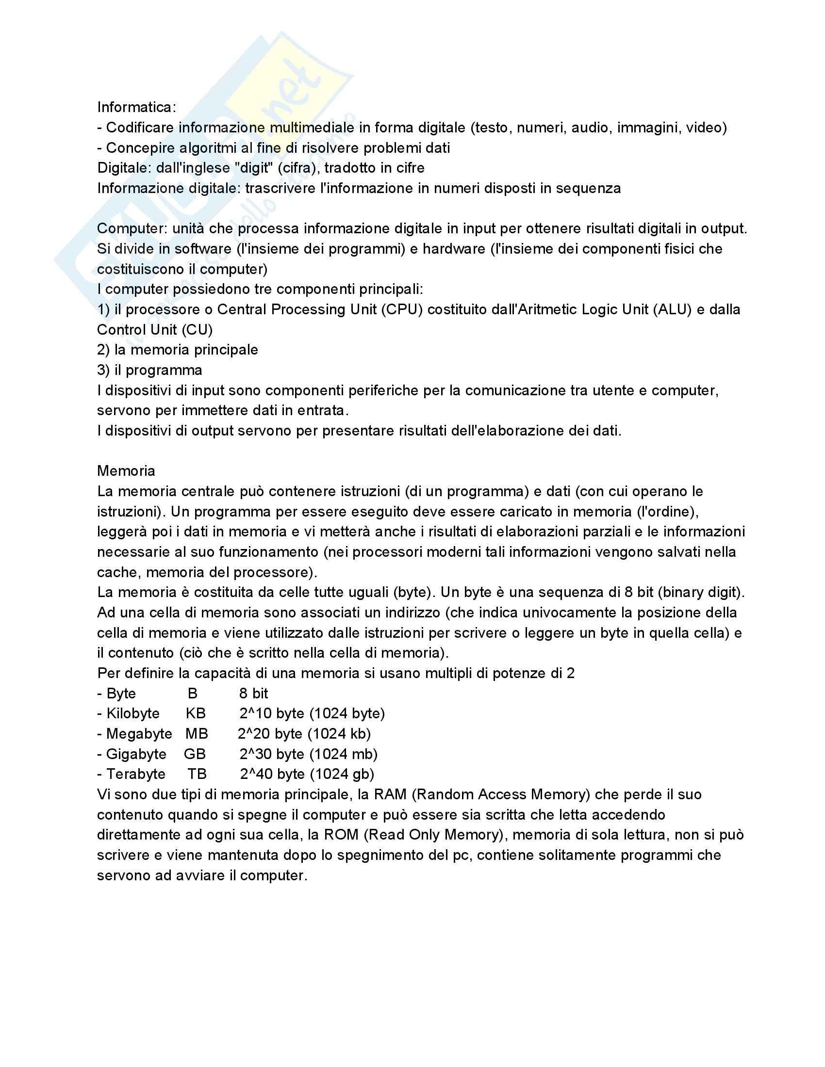 Riassunto esame Fondamenti di Informatica, prof. Dragoni, libro consigliato Fondamenti di Programmazione in C++ di Aguilar