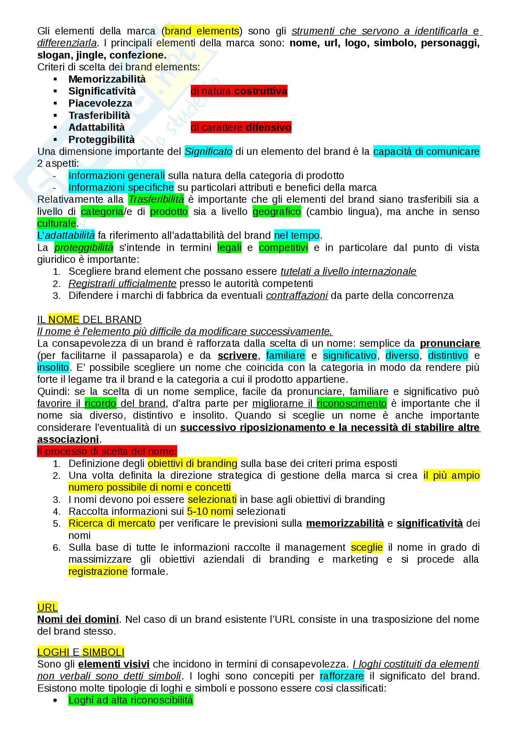 Riassunto esame Brand Management, prof. Battaglia Pag. 11