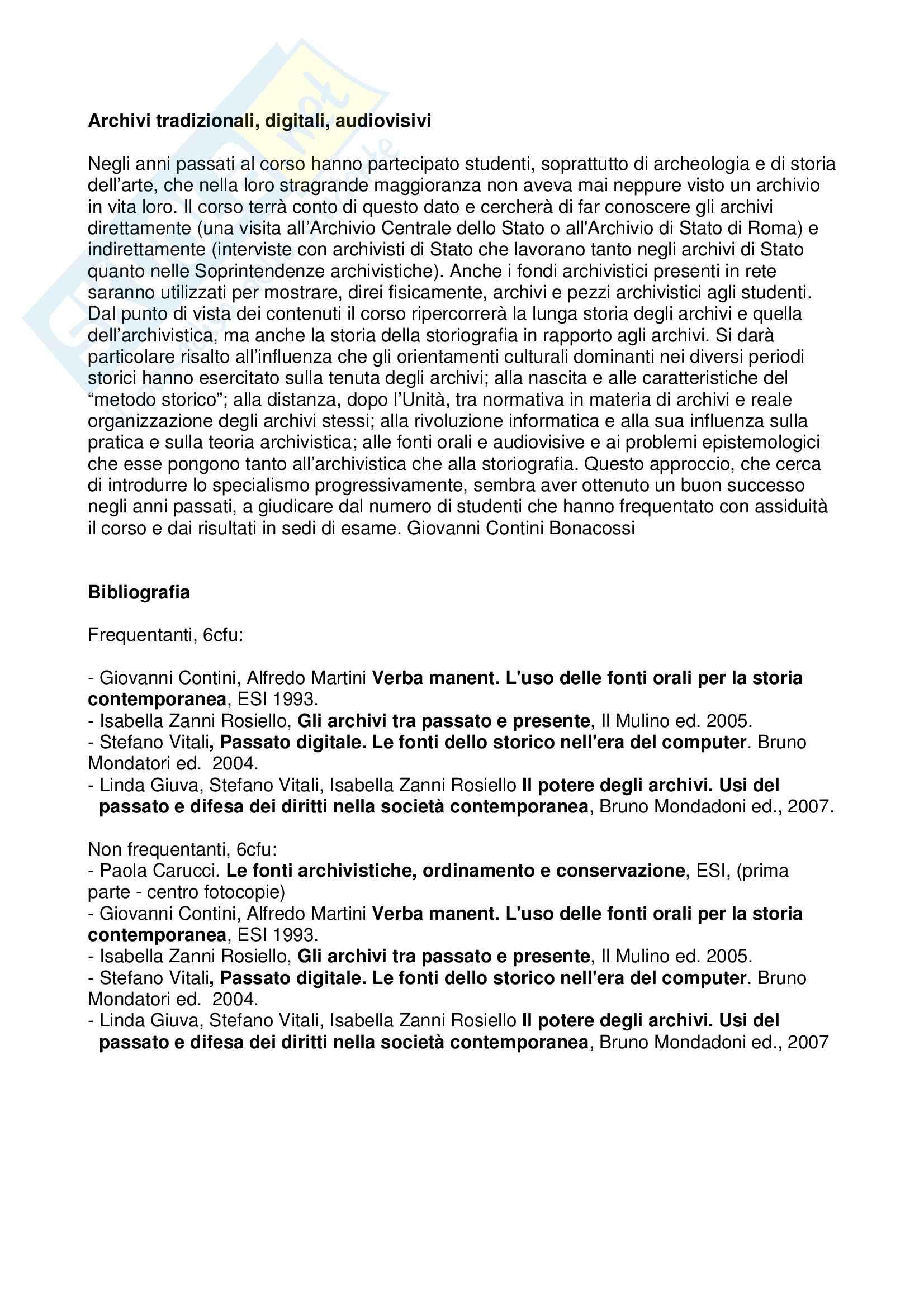 dispensa G. Contini Bonacossi Archivistica I A