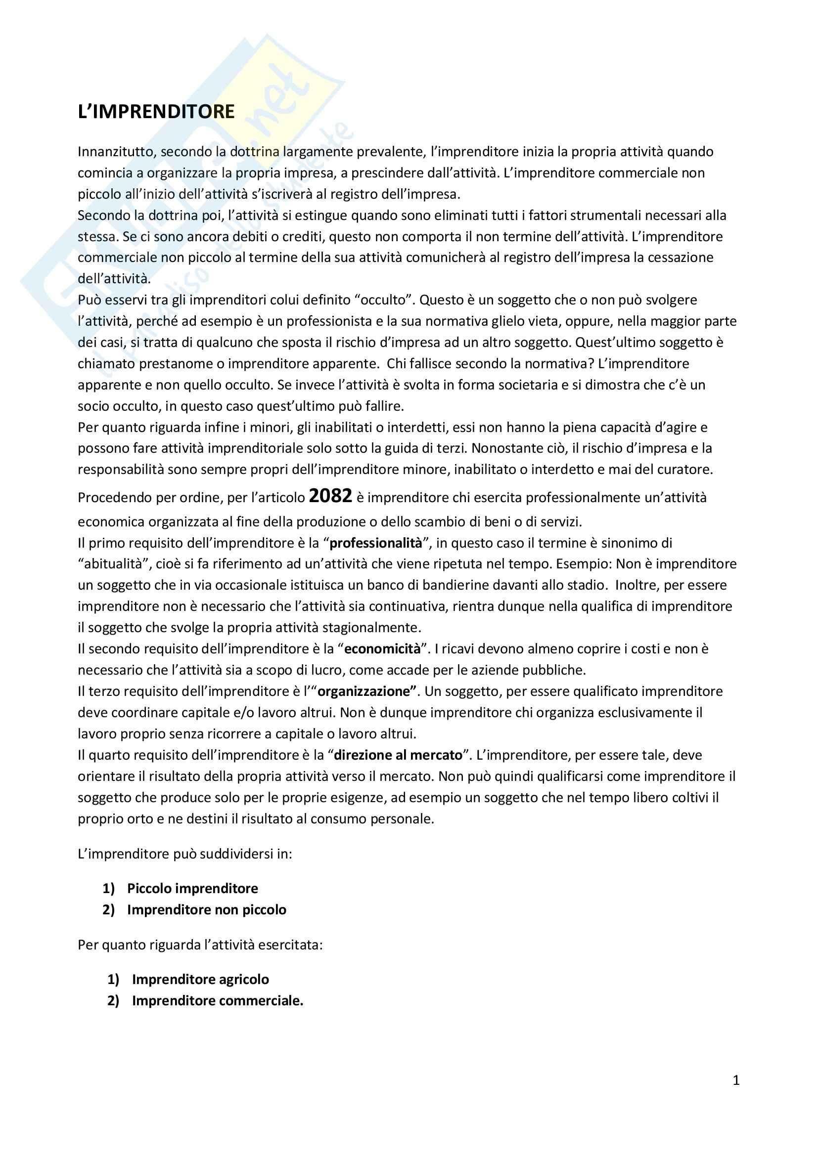 Appunti per esame di Diritto Commerciale
