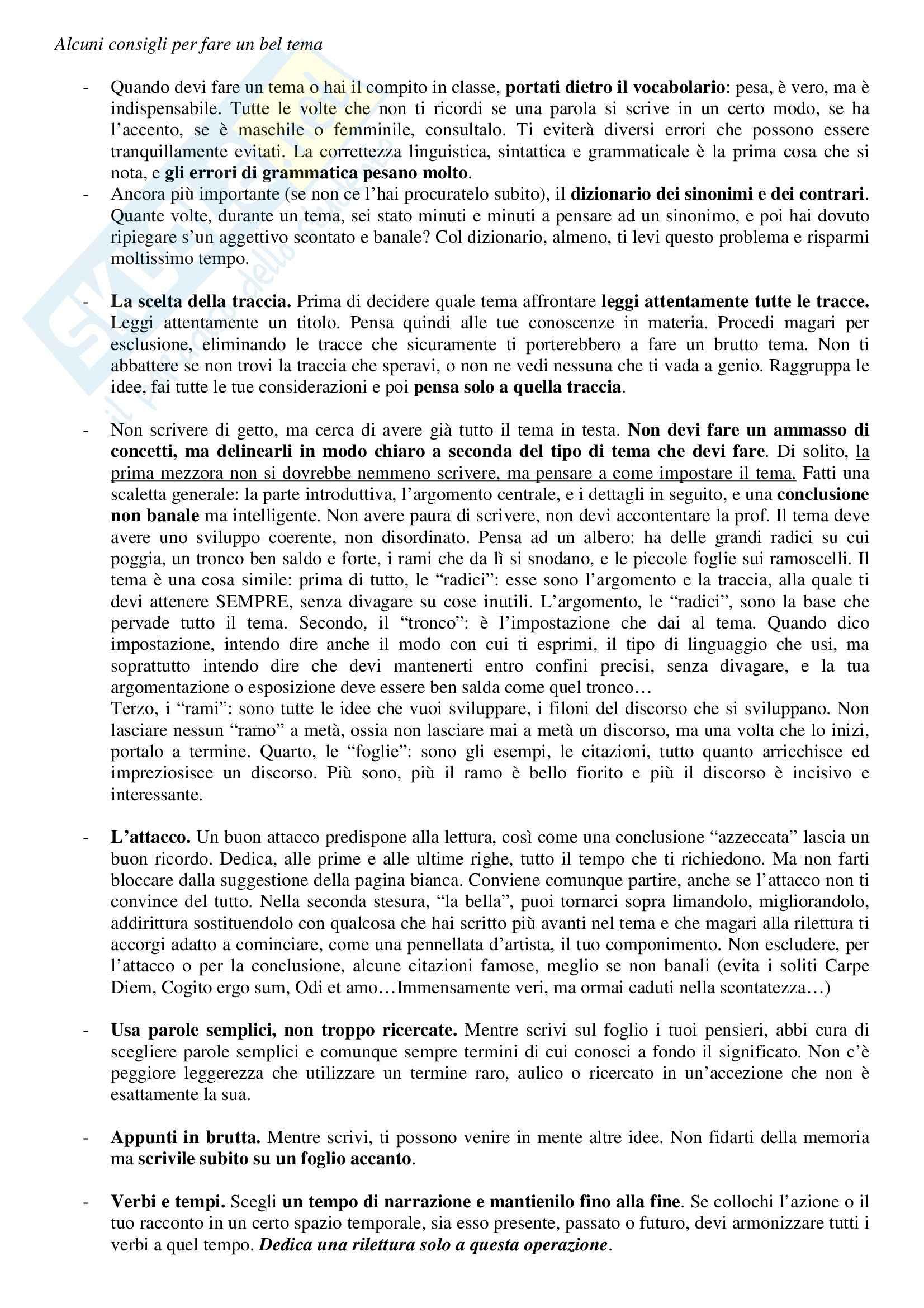 Letteratura e lingua italiana - come fare un tema