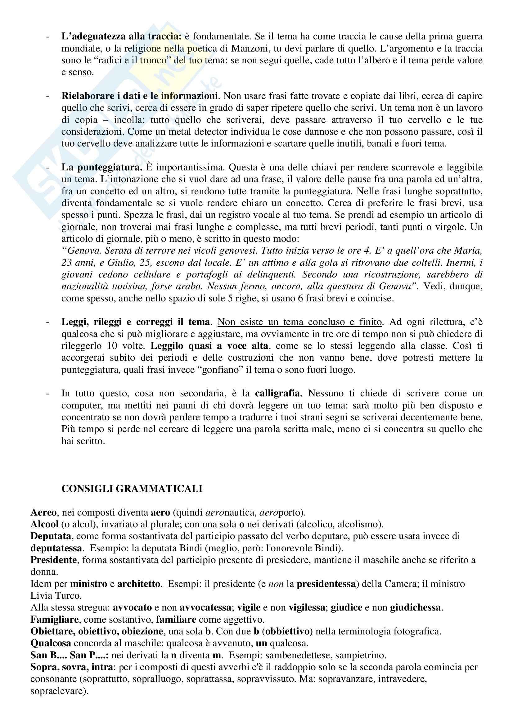 Letteratura e lingua italiana - come fare un tema Pag. 2