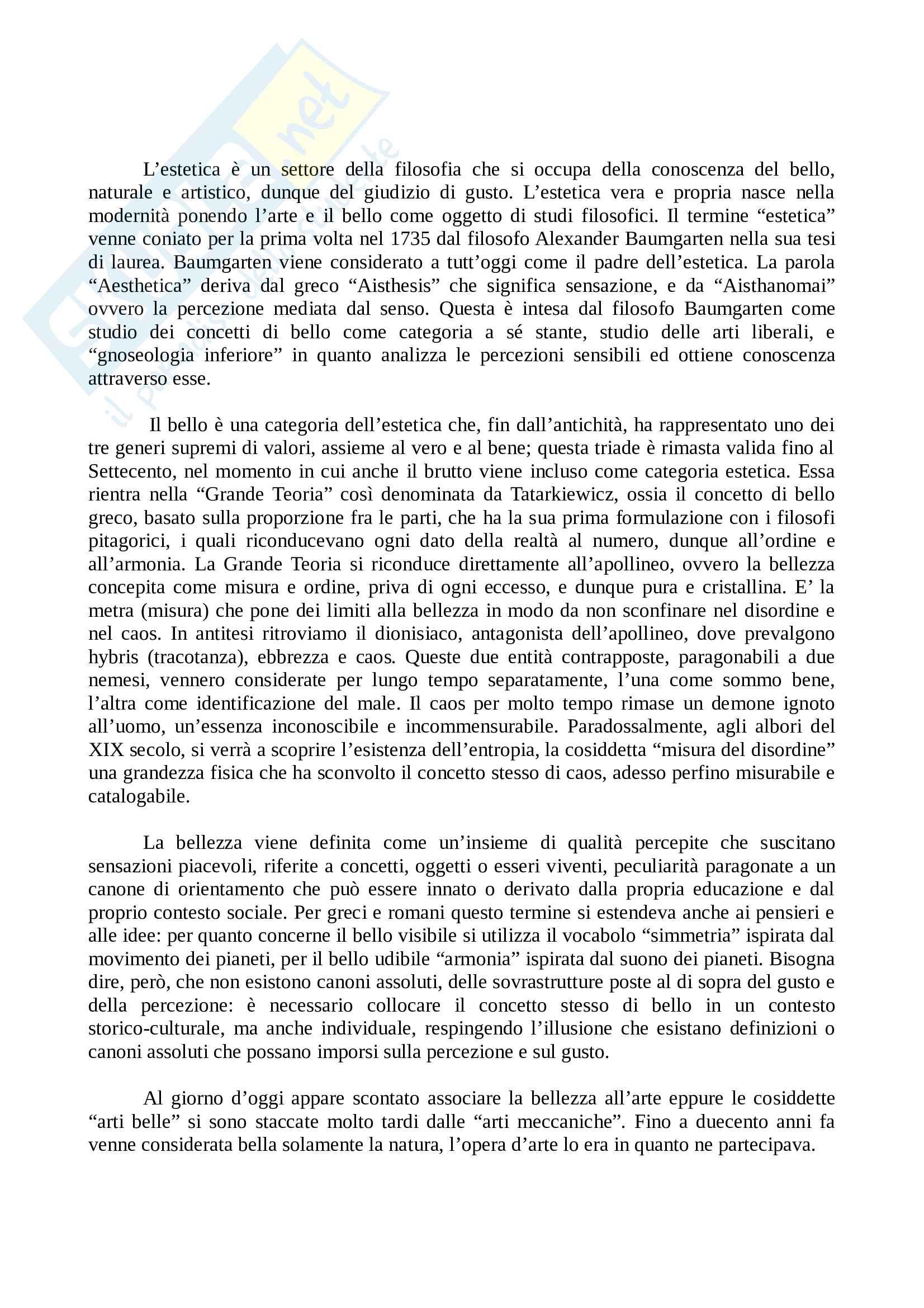 Riassunto esame Estetica, prof. Tricomi, libro consigliato Le forme del bello, Bodei Pag. 1