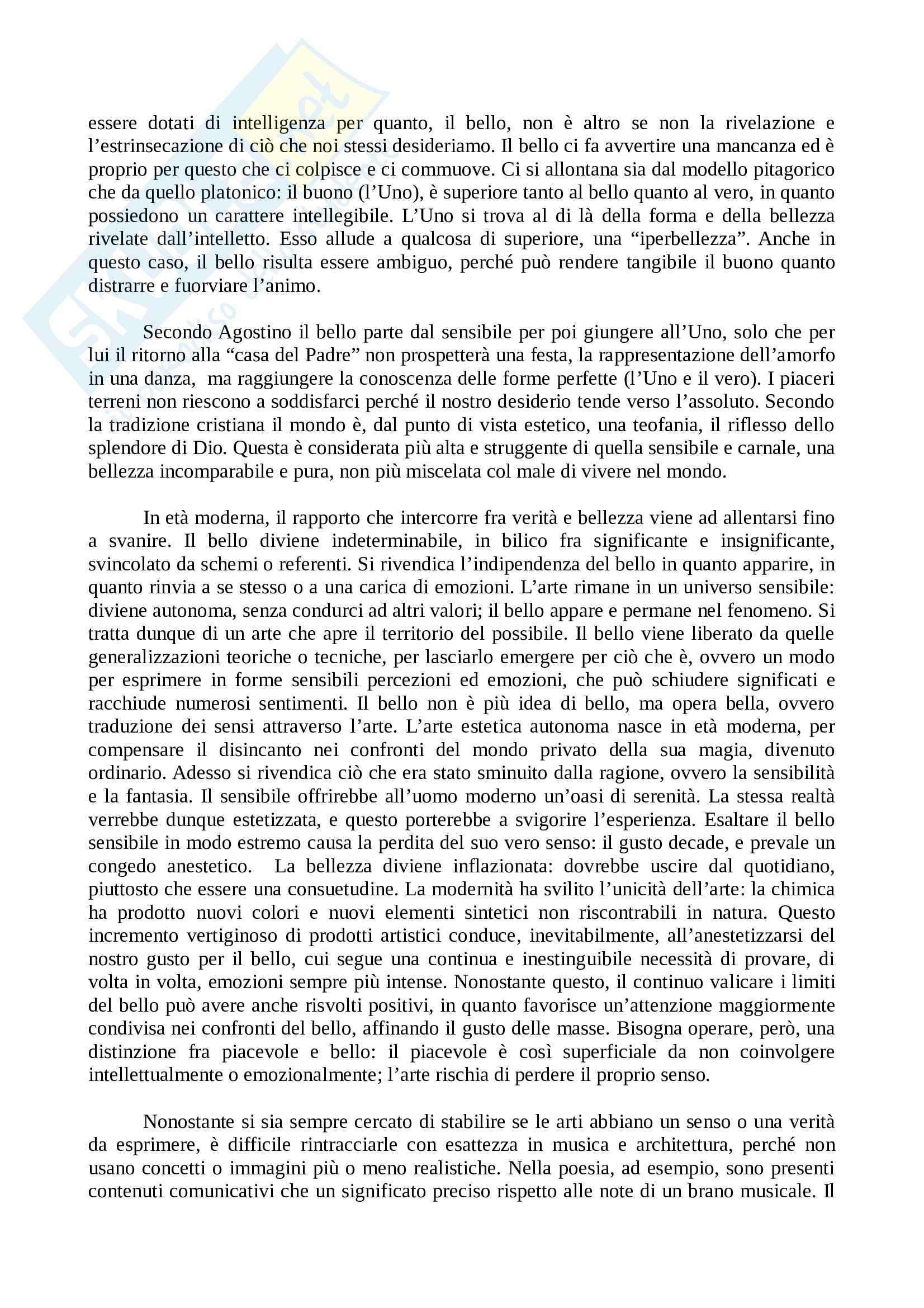 Riassunto esame Estetica, prof. Tricomi, libro consigliato Le forme del bello, Bodei Pag. 11