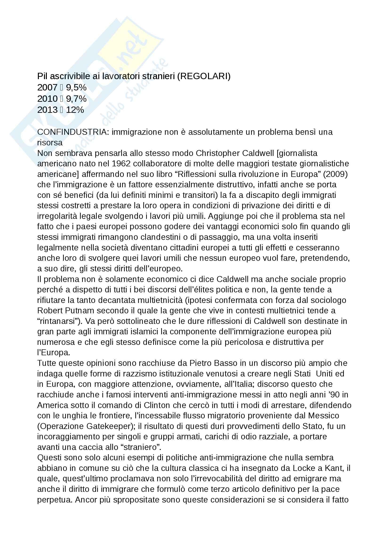Riassunto esame Sociologia Generale, prof. Barrucci, libro consigliato Razzismo di Stato, Basso